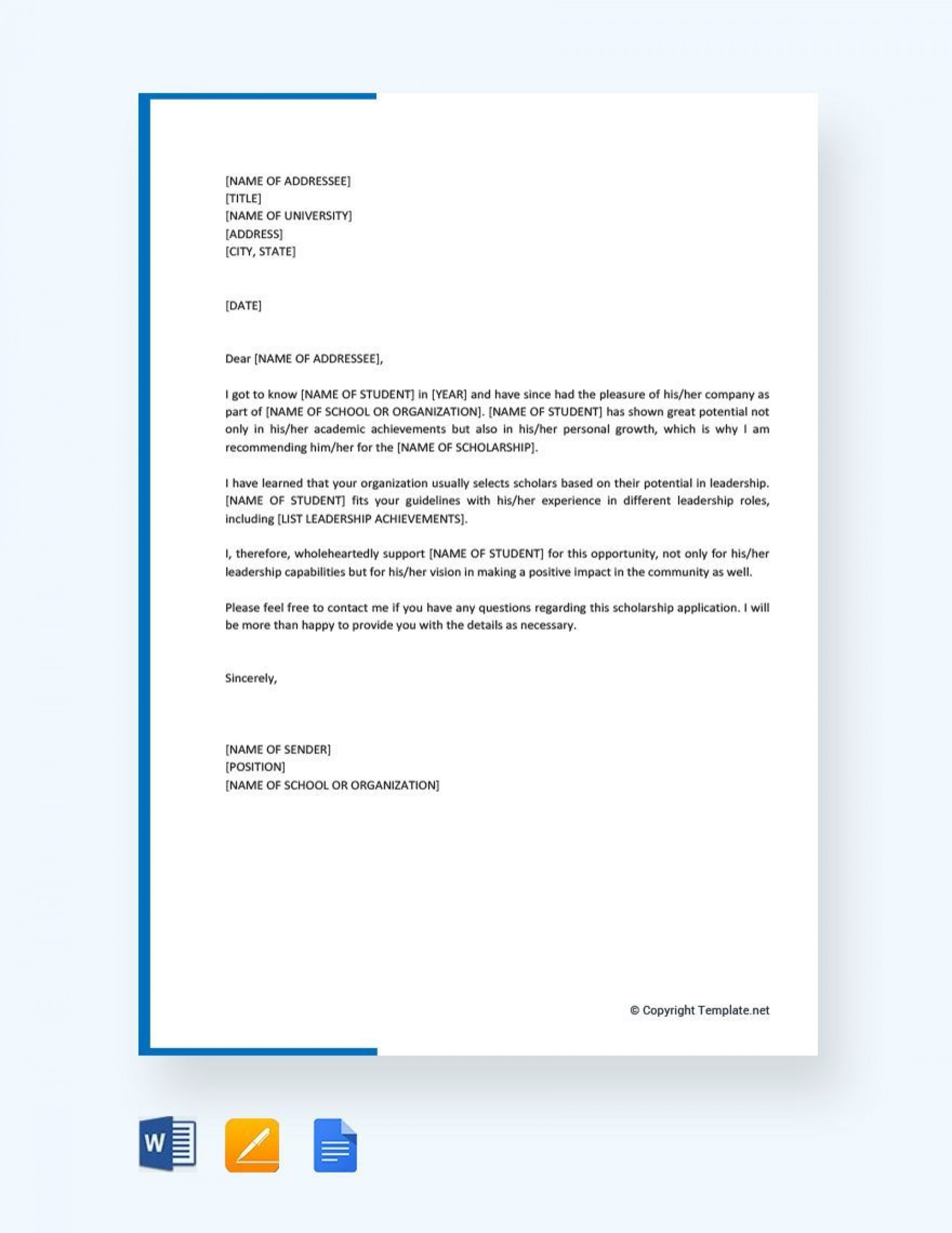 Scholarship Recommendation Letter Example from www.addictionary.org