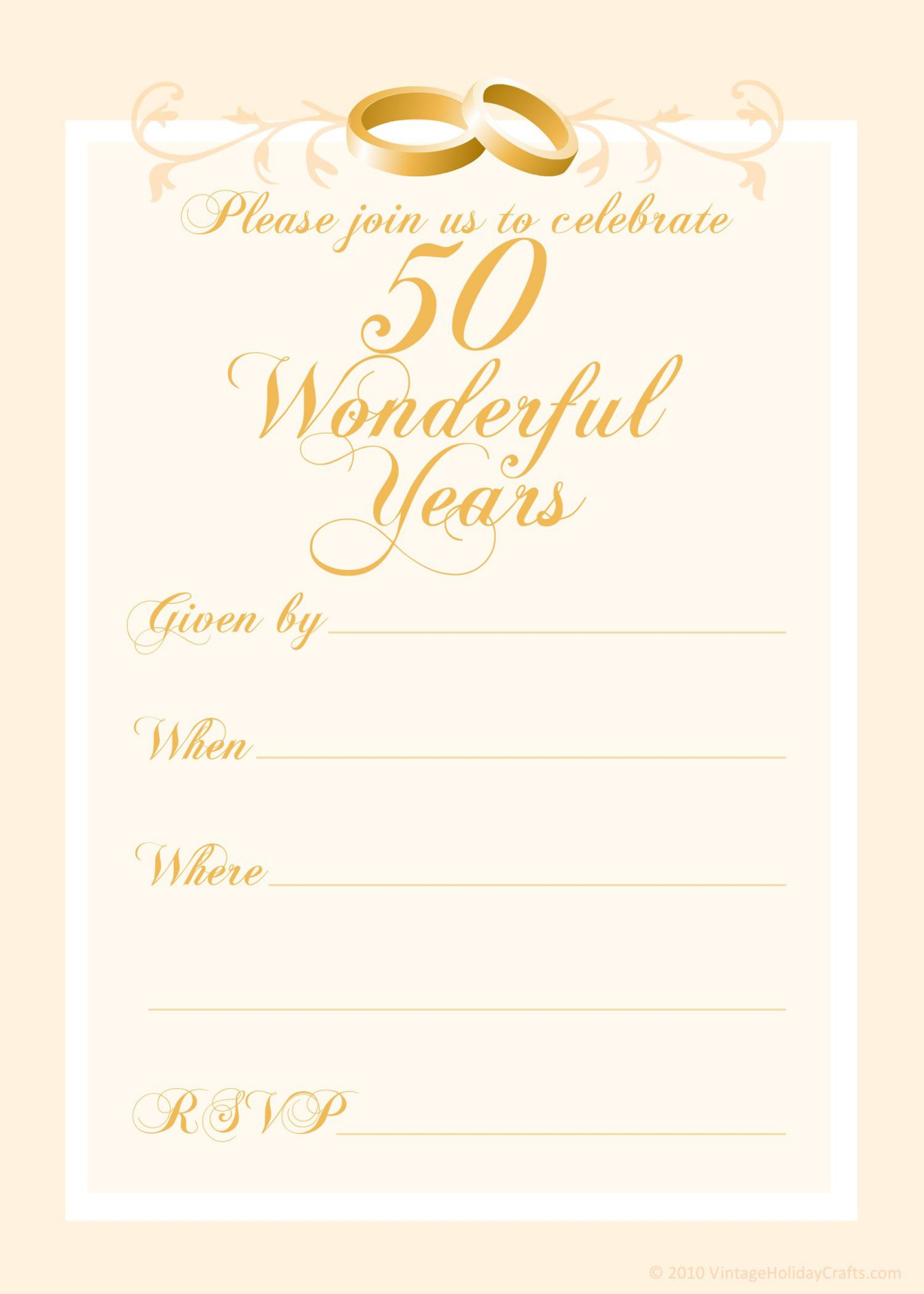 000 Magnificent 50th Anniversary Invitation Template Inspiration  Templates Wedding Free Download Golden1920