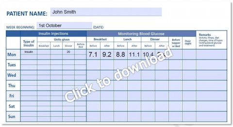 000 Magnificent Blood Glucose Log Form High Def  Sheet Excel Level Free Printable Monthly480