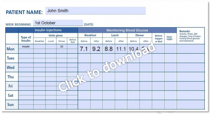 000 Magnificent Blood Glucose Log Form High Def  Sheet Excel Level Free Printable Monthly728