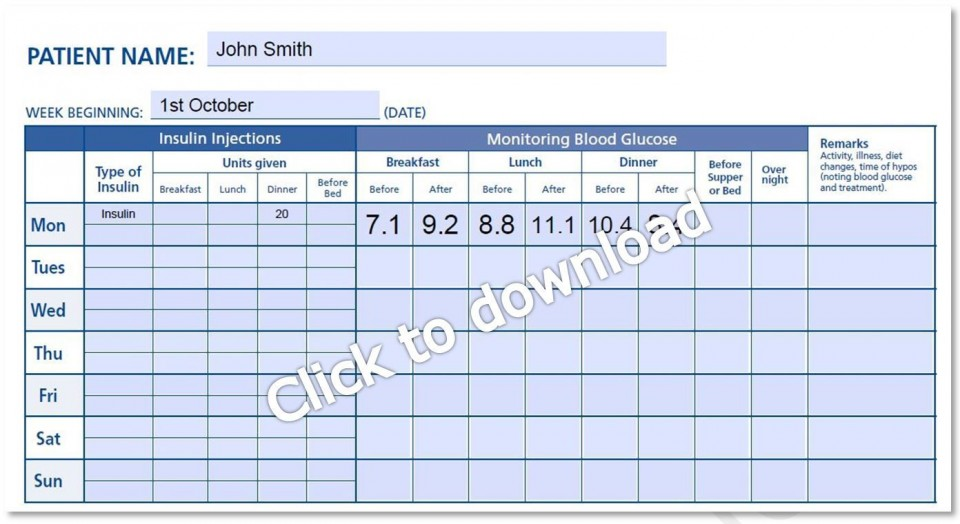 000 Magnificent Blood Glucose Log Form High Def  Sheet Excel Level Free Printable Monthly960
