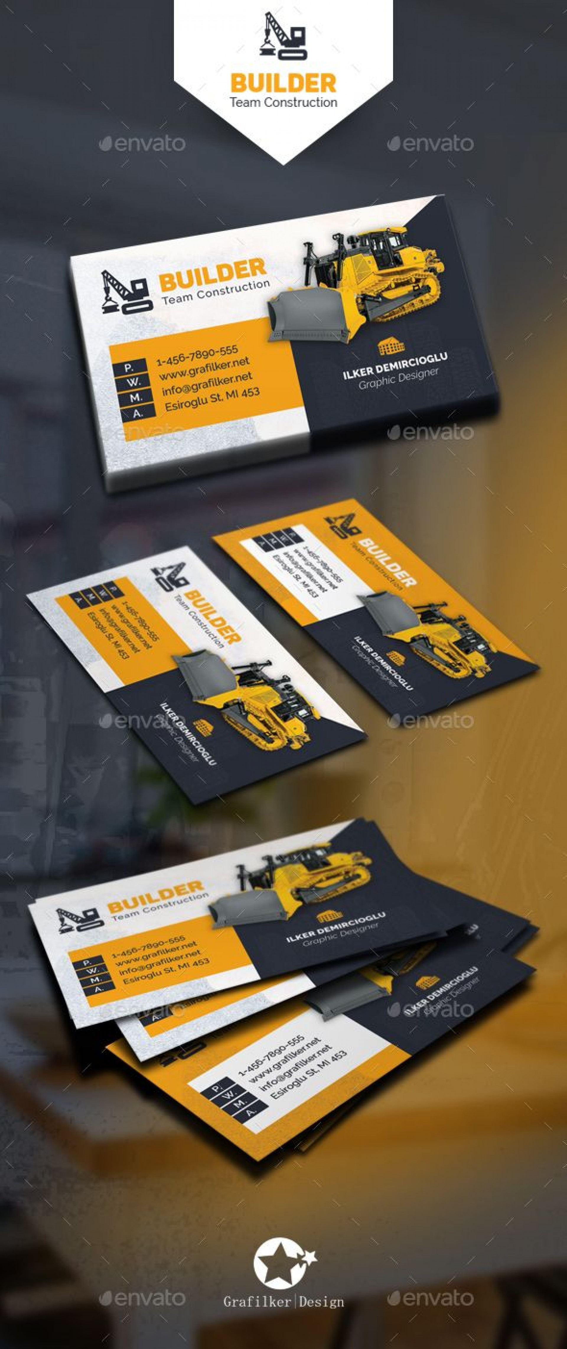 000 Magnificent Construction Busines Card Template Picture  Templates Visiting Company Format Design Psd1920