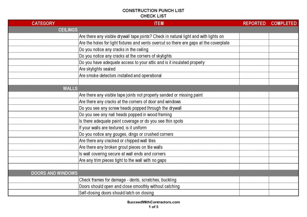 000 Magnificent Construction Punch List Template High Resolution  New Home PdfLarge