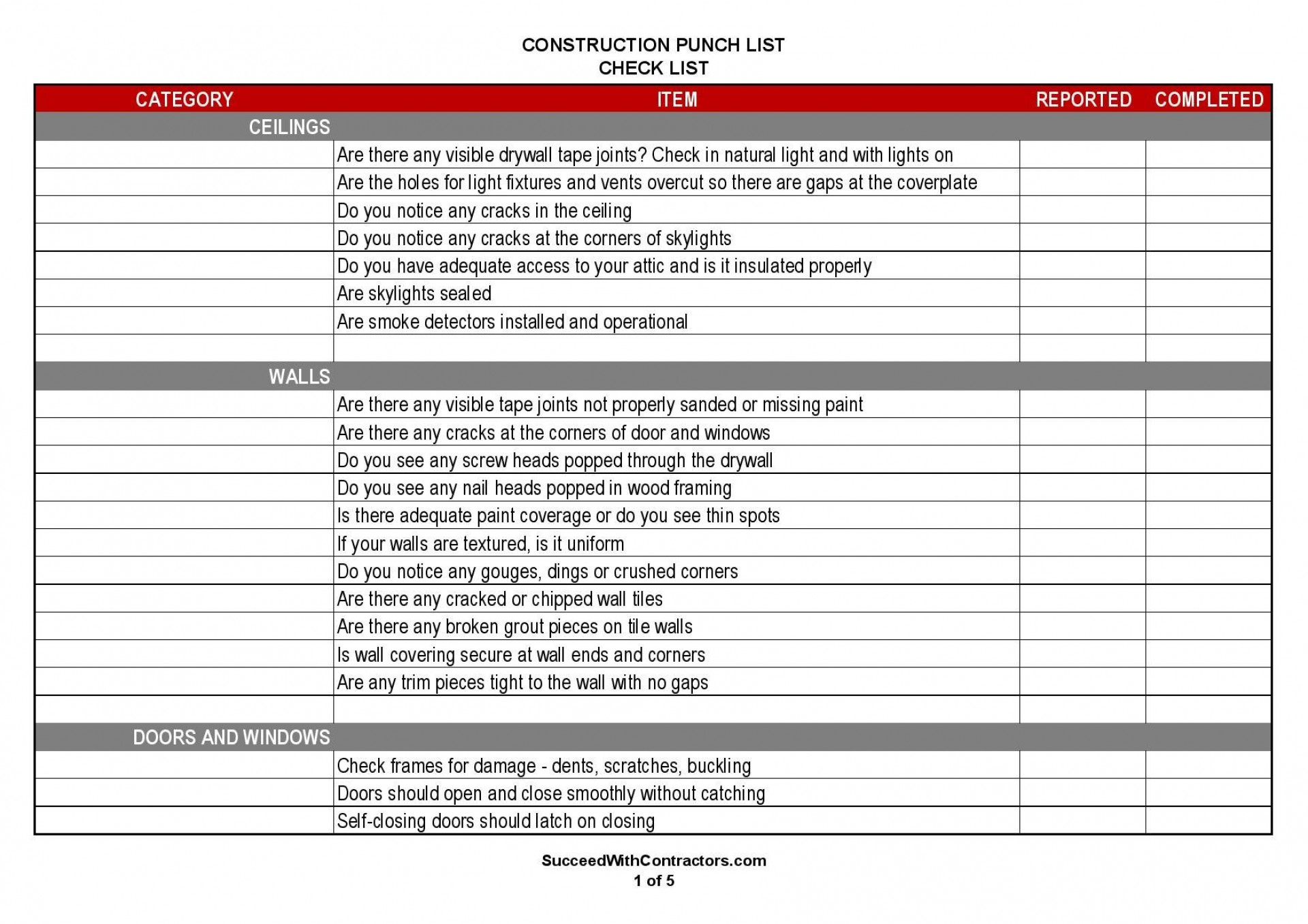 000 Magnificent Construction Punch List Template High Resolution  New Home Pdf1920