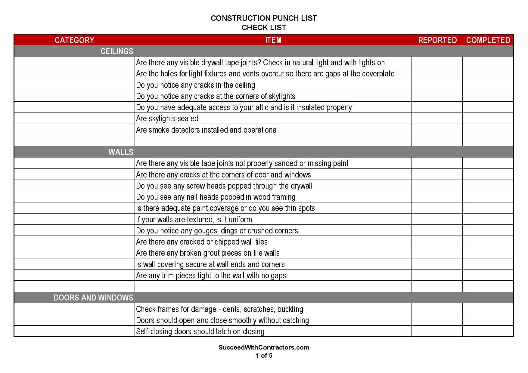 000 Magnificent Construction Punch List Template High Resolution  New Home PdfFull