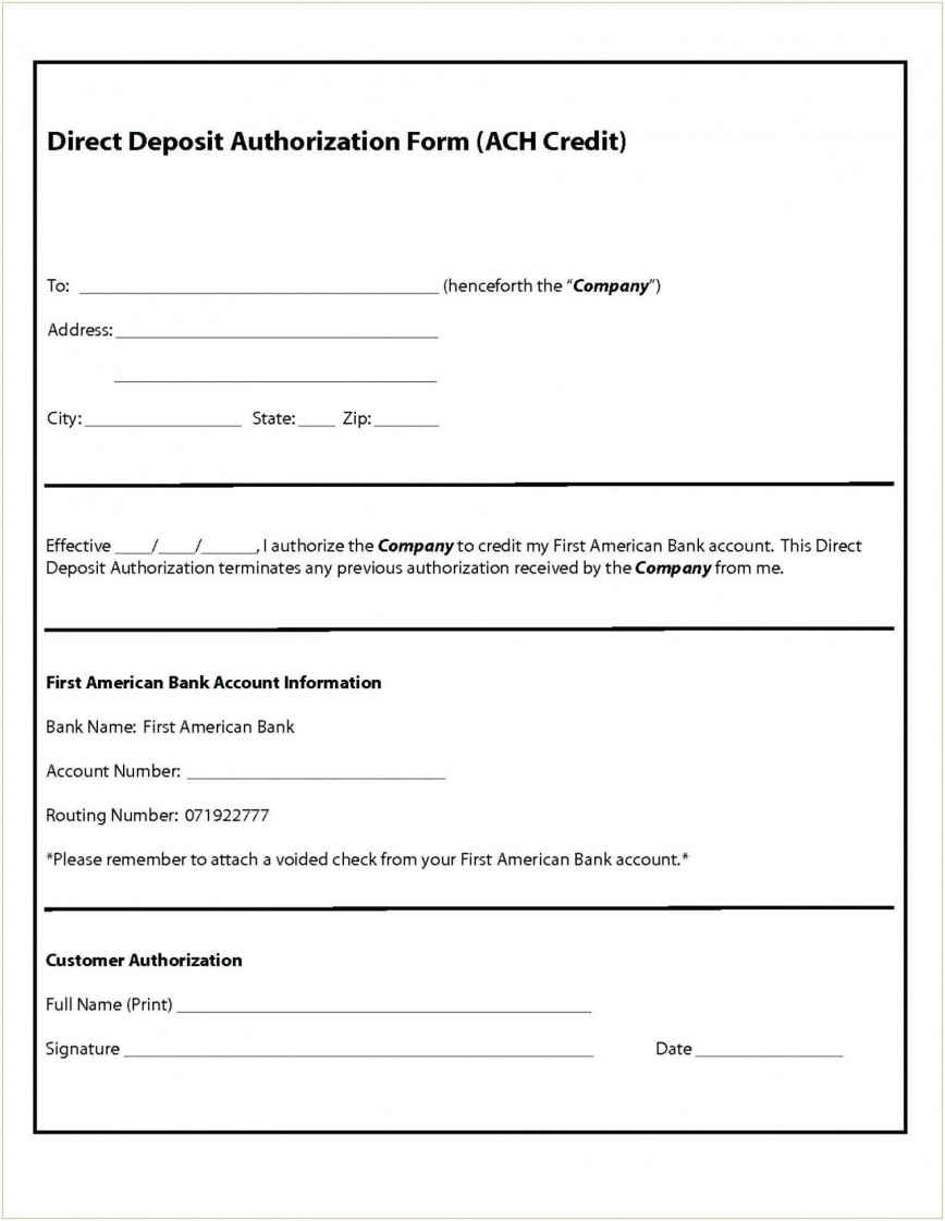 000 Magnificent Direct Deposit Form Template Photo  Ach Authorization Payroll Canada Request