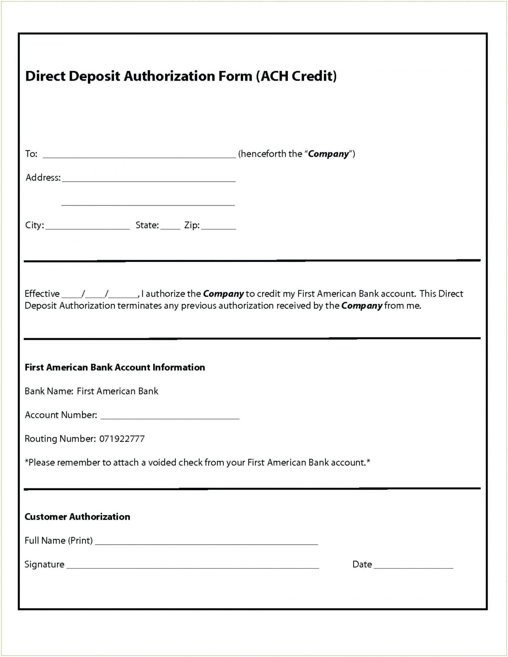 000 Magnificent Direct Deposit Form Template Photo  Multiple Account Ach AuthorizationFull