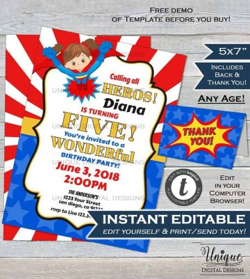 000 Magnificent Editable Superhero Invitation Template Free Highest Clarity 360