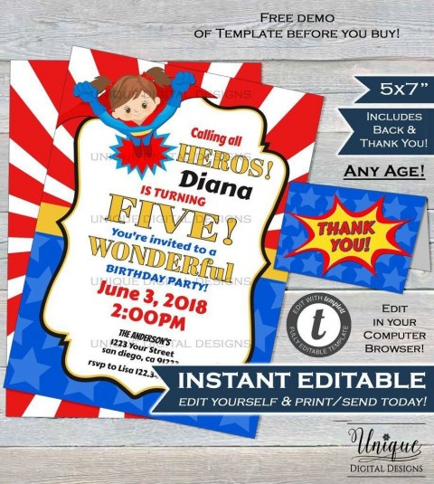 000 Magnificent Editable Superhero Invitation Template Free Highest Clarity 480