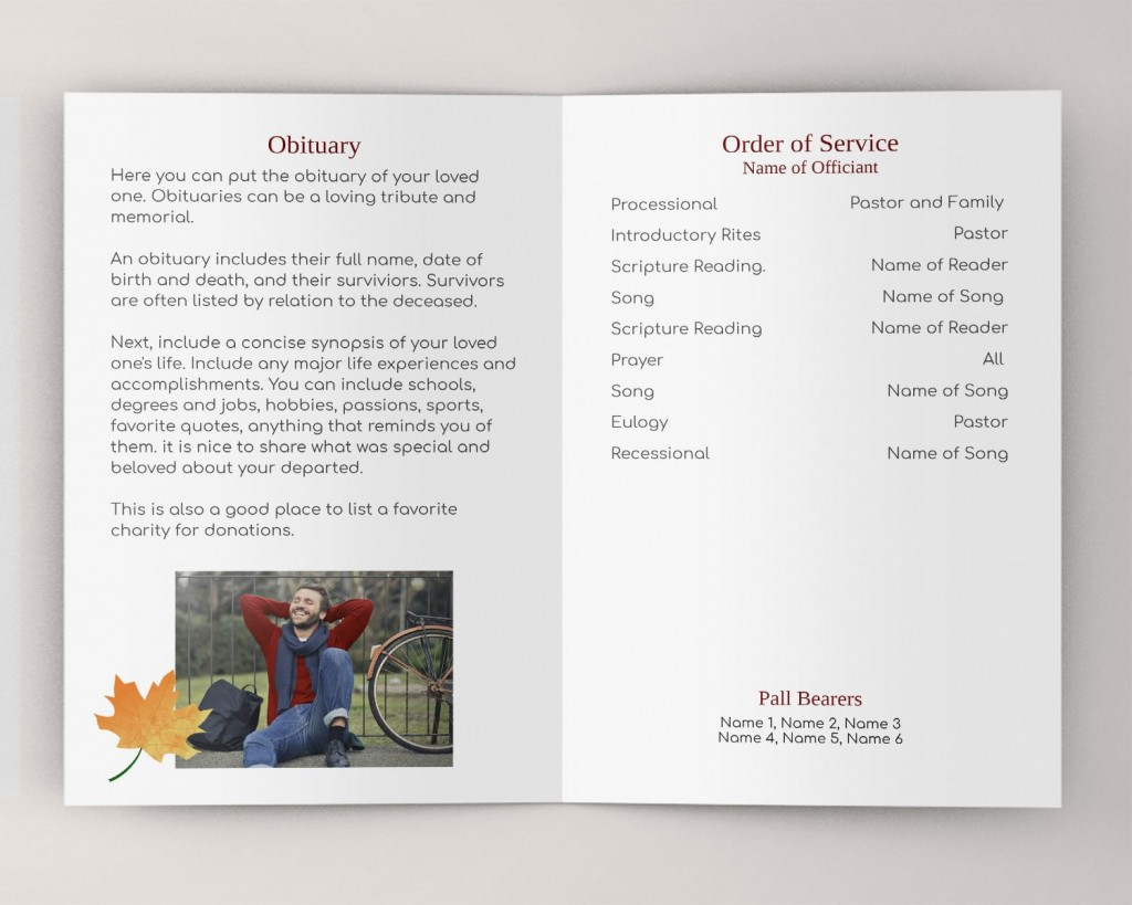 000 Magnificent Example Funeral Programme Sample  Format Of Program Template Free To DownloadLarge