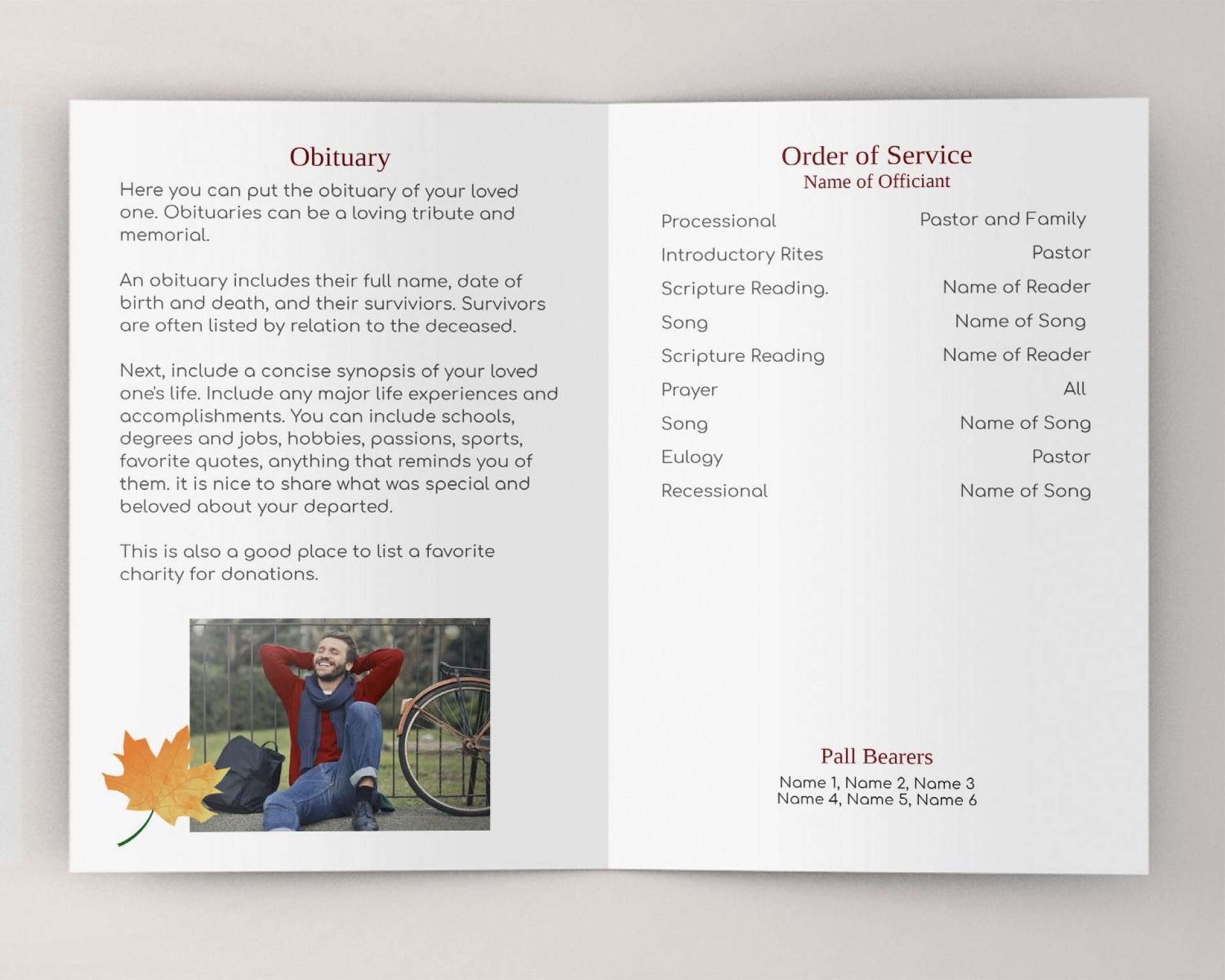 000 Magnificent Example Funeral Programme Sample  Format Of Program Template Free To Download1920