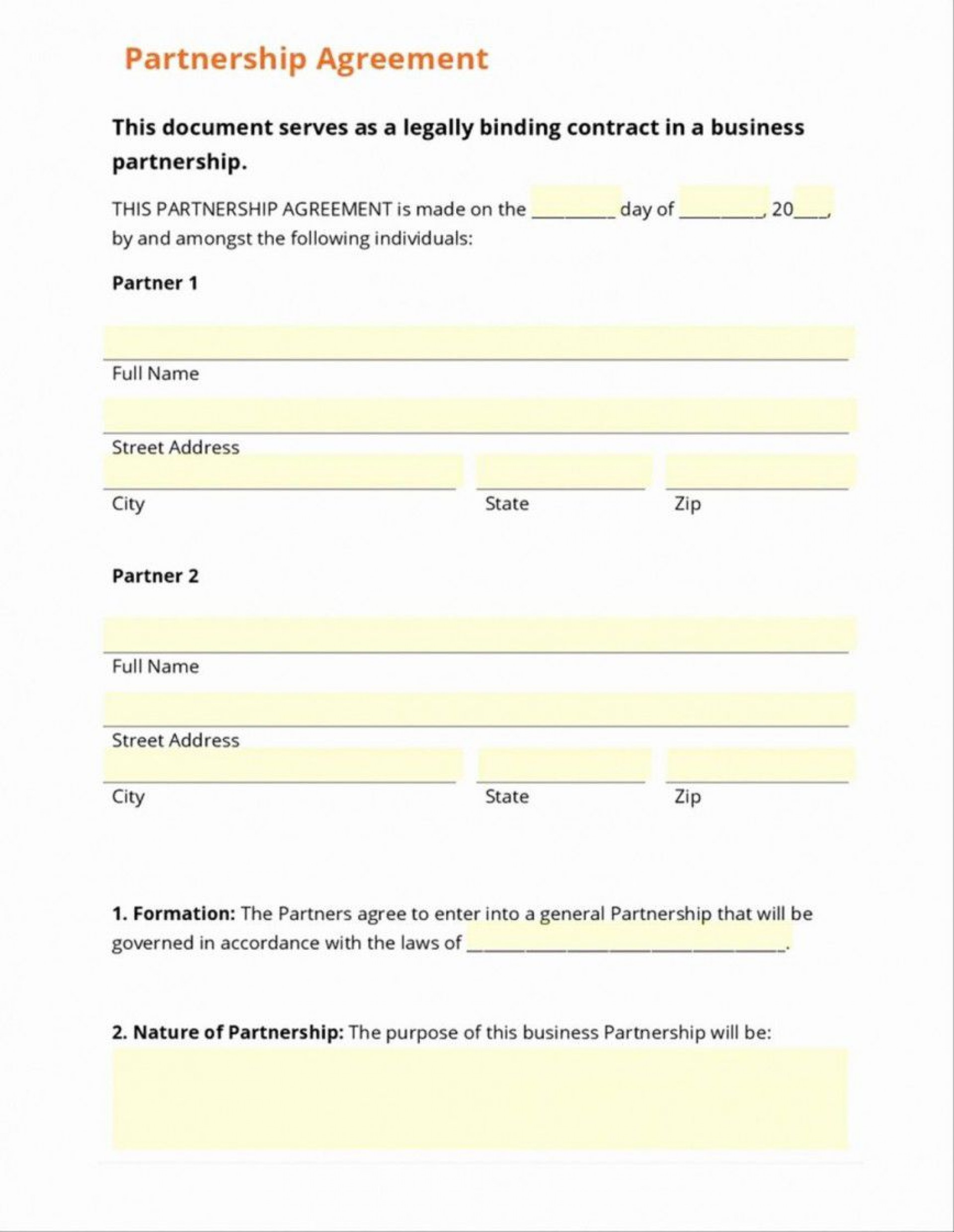 000 Magnificent Free Busines Partnership Agreement Template Image  Online Nz Download1920