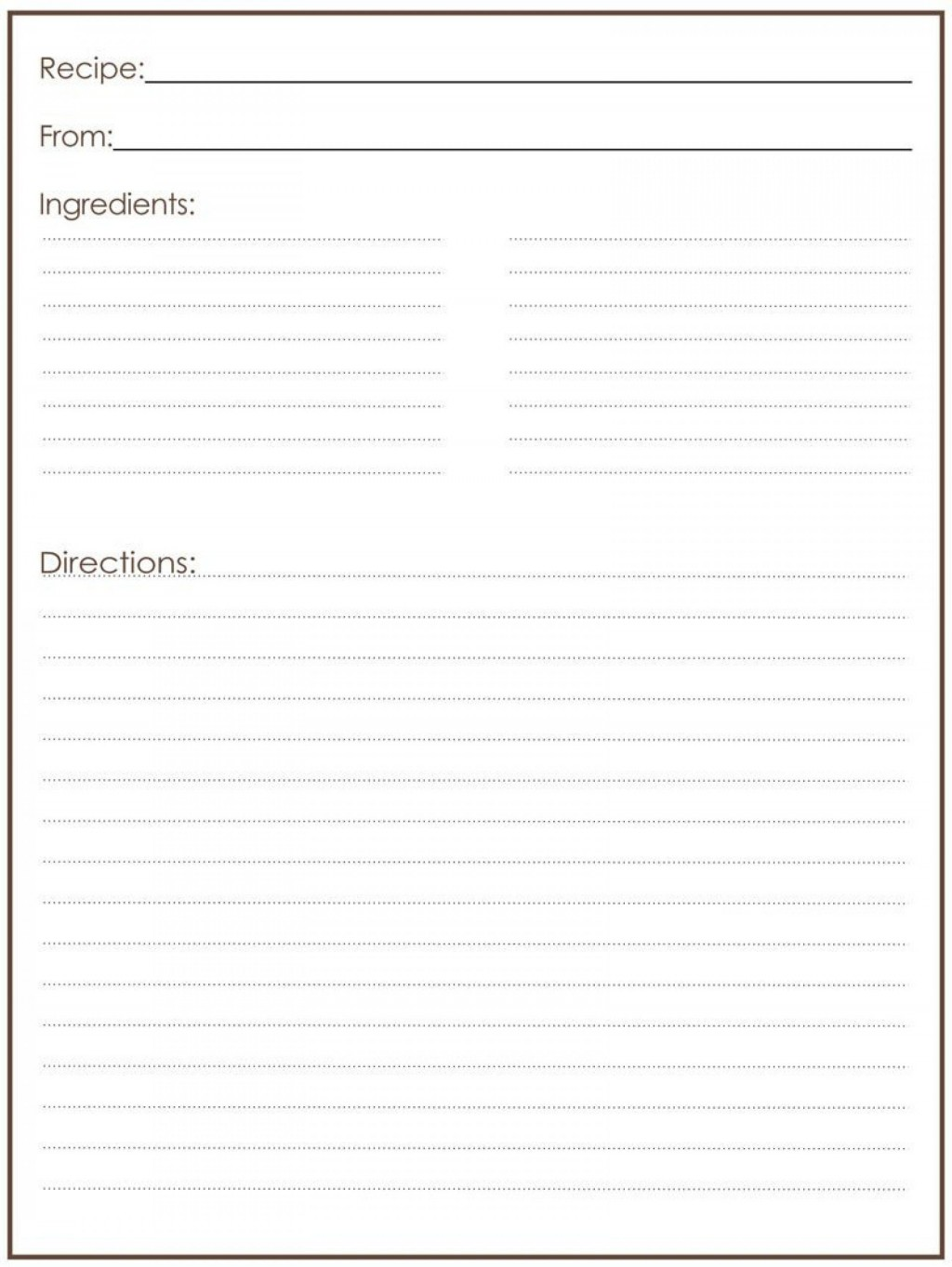 000 Magnificent Full Page Recipe Template High Def  Card For Word Free EditableLarge