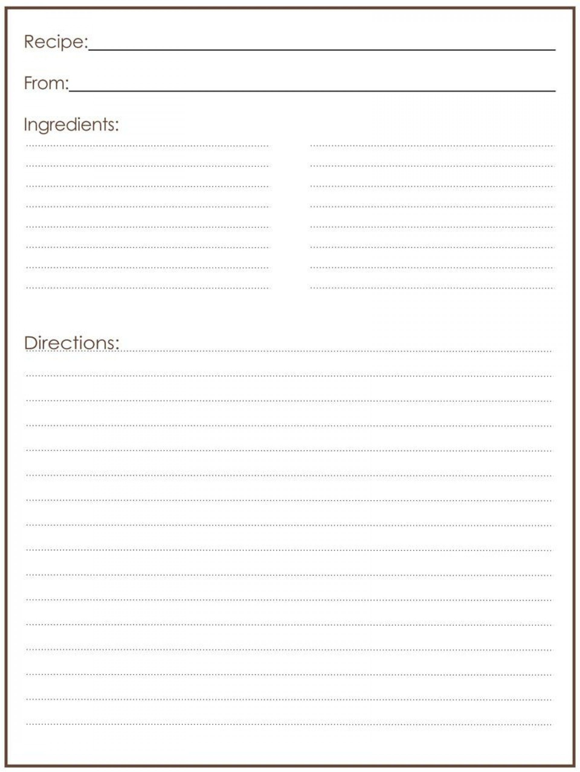 000 Magnificent Full Page Recipe Template High Def  Card For Word Free Editable1920