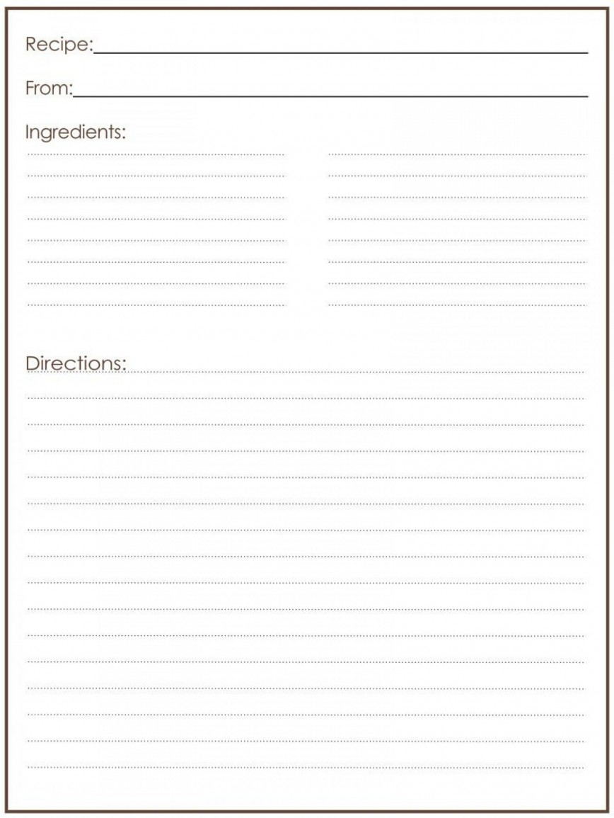 000 Magnificent Full Page Recipe Template High Def  Card Editable For Word