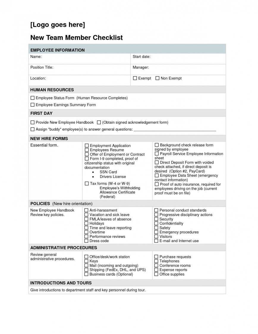 000 Magnificent New Hire Checklist Template Highest Clarity  Free Employee Excel Word