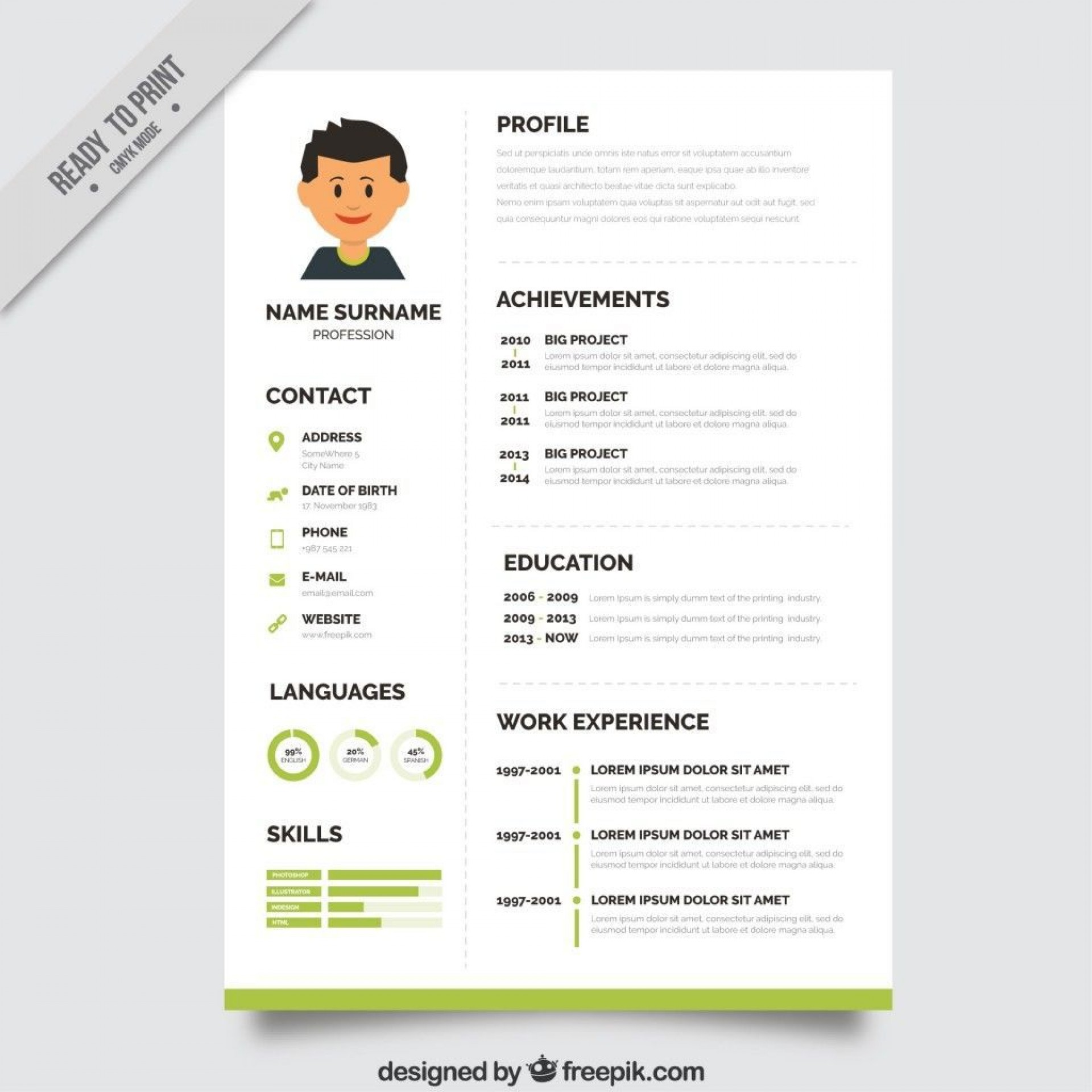 000 Magnificent Psd Resume Template Free Download Concept  Graphic Designer Creative Cv1920