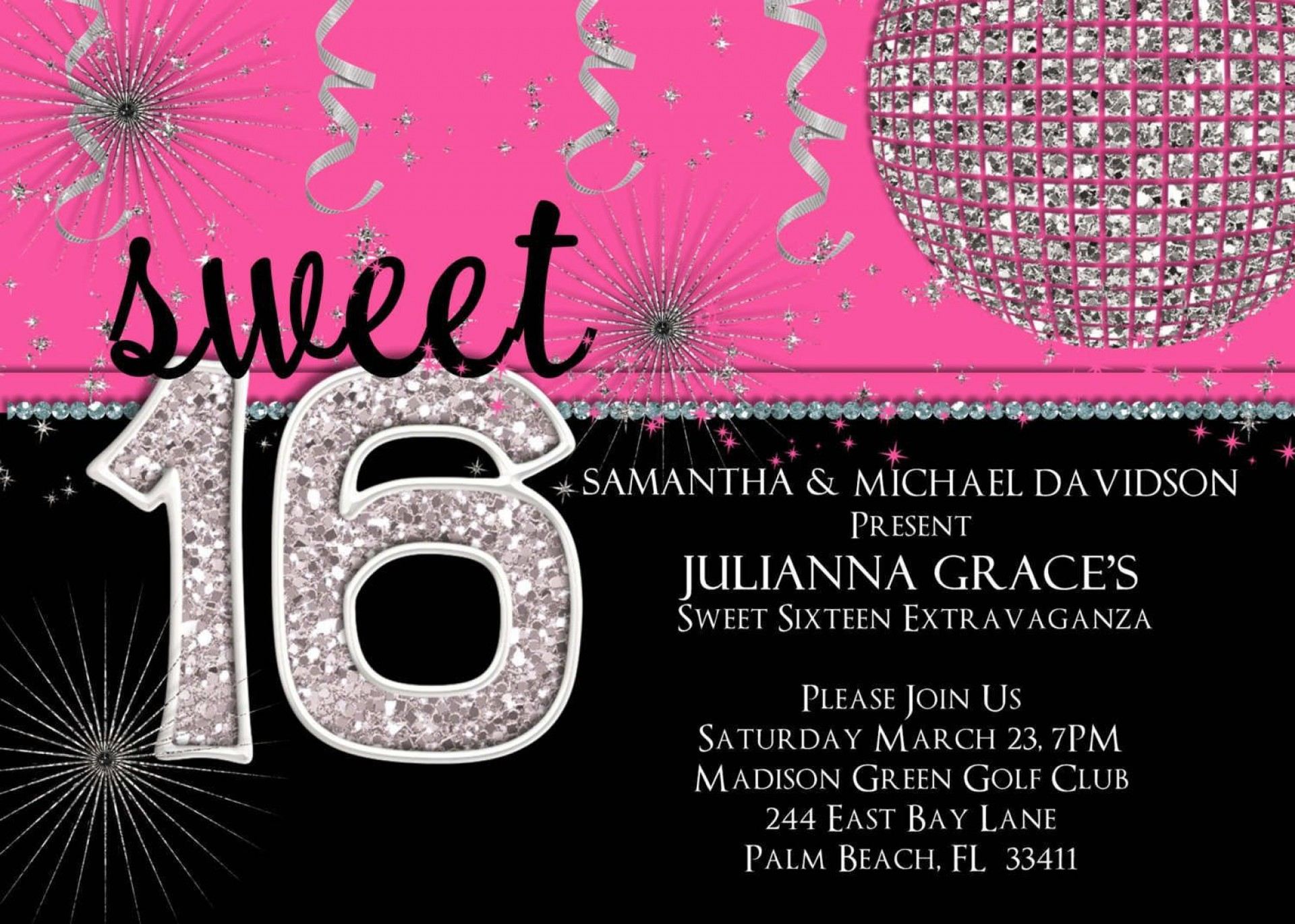 000 Magnificent Sweet 16 Invite Template Example  Templates Surprise Party Invitation Birthday Free 16th1920