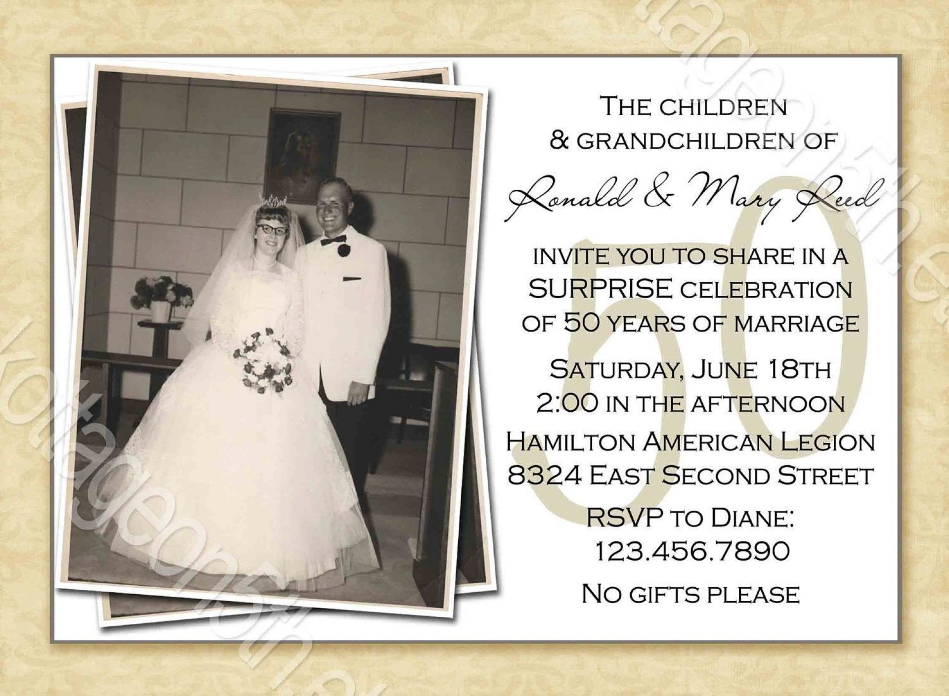 000 Marvelou 50th Wedding Anniversary Invitation Template Free Image  Download Golden Microsoft Word1920