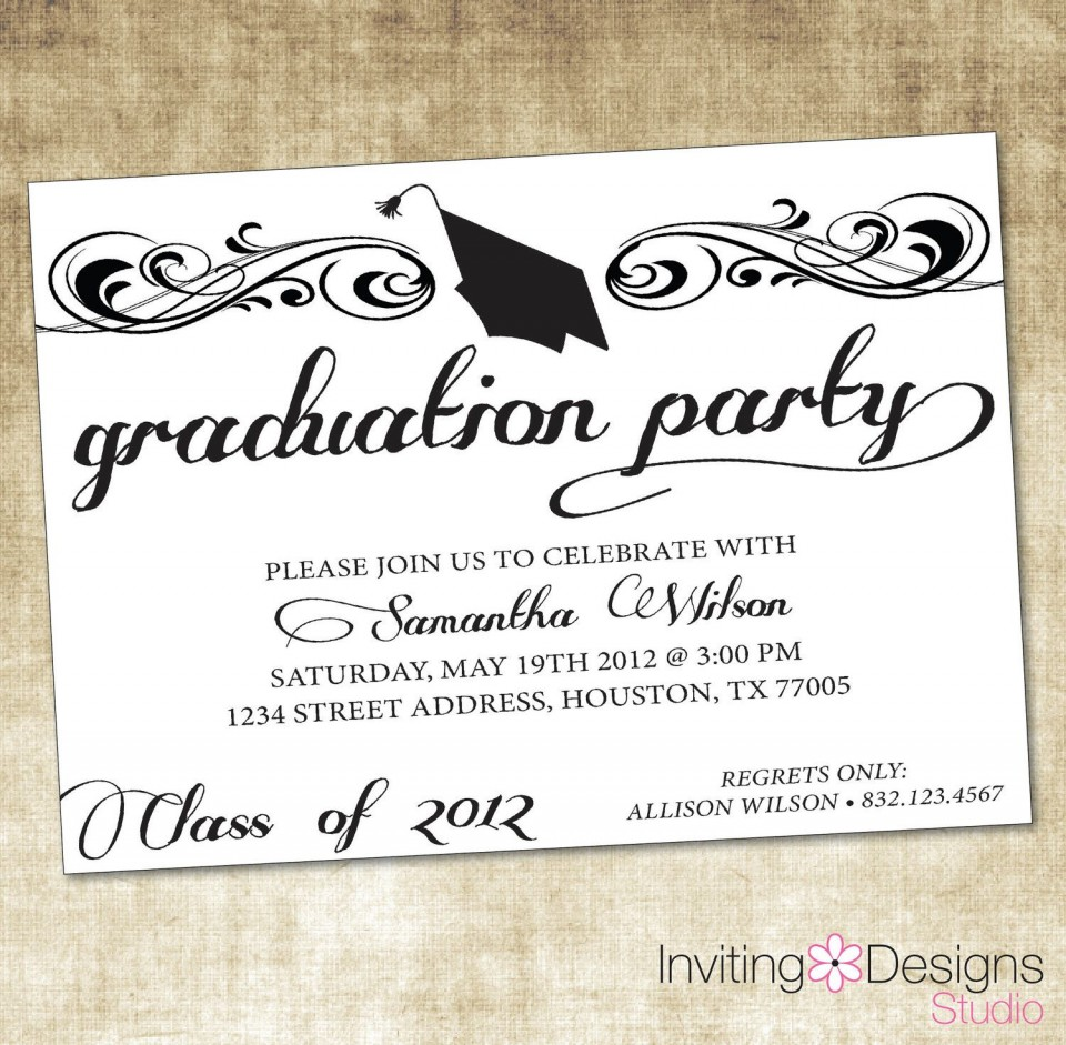 000 Marvelou College Graduation Invitation Template Highest Quality  Party Free For Word960