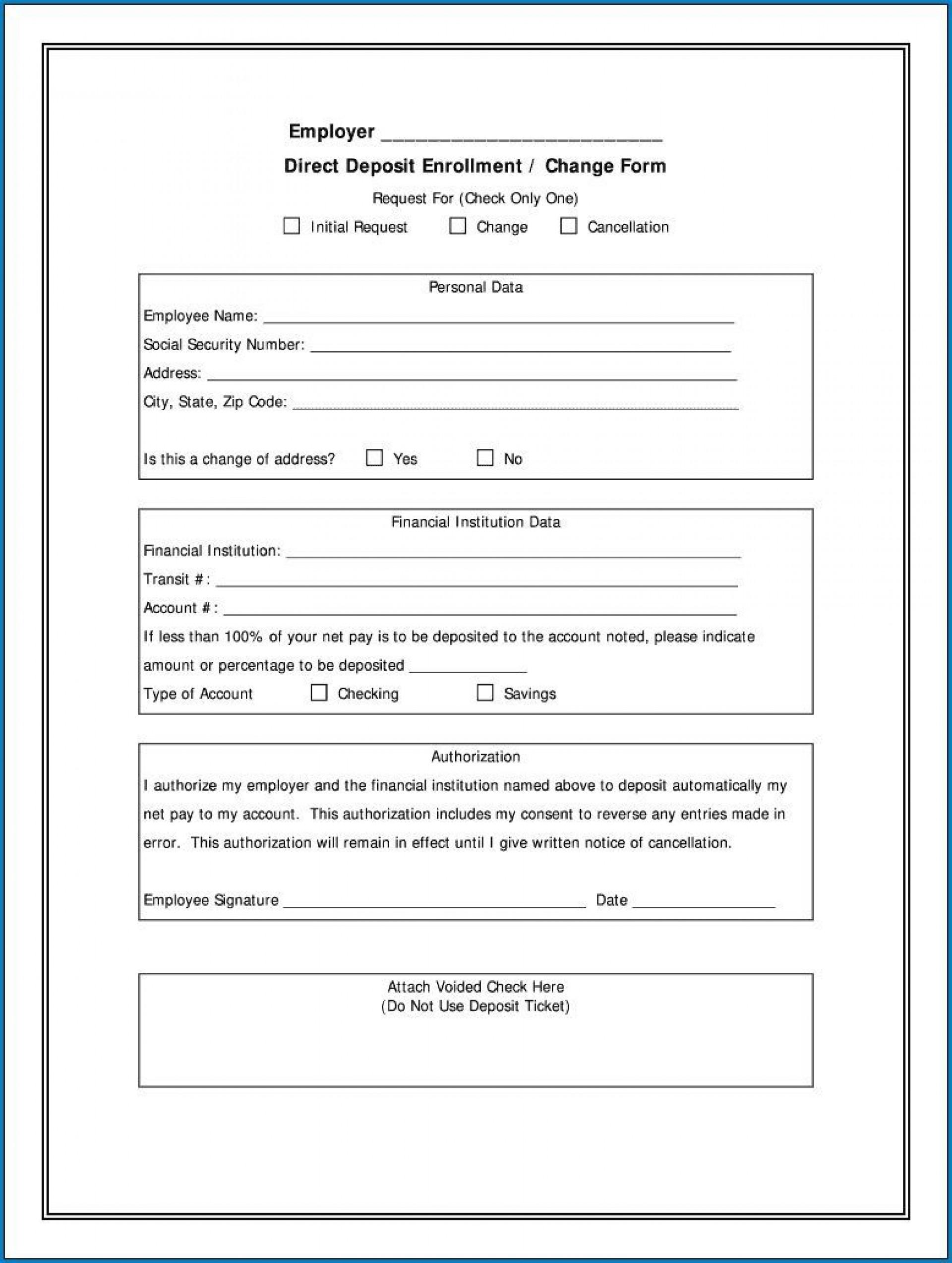 000 Marvelou Direct Deposit Agreement Authorization Form Template Idea 1920