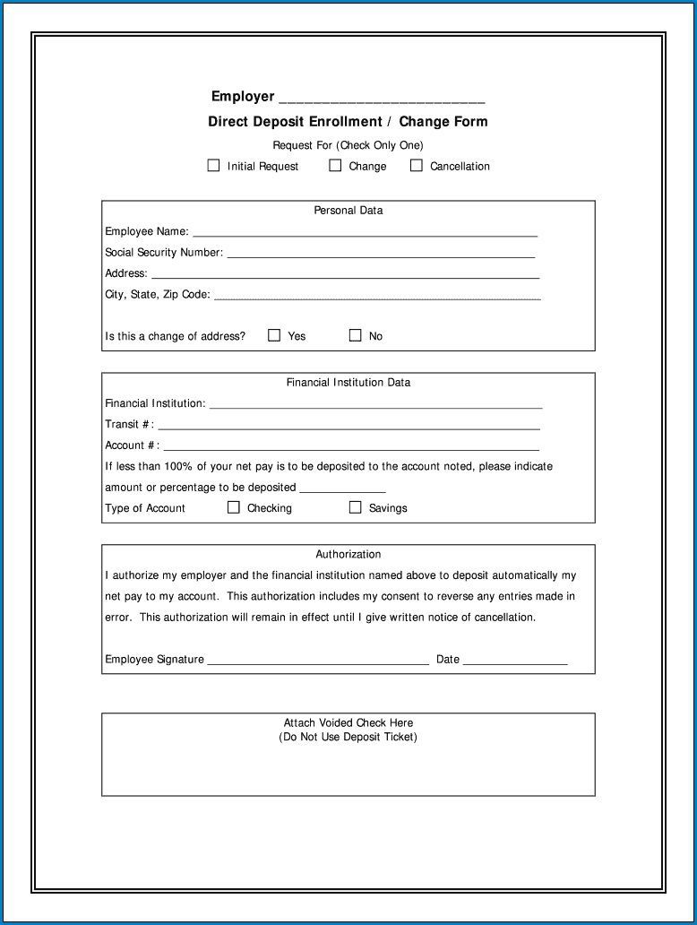 000 Marvelou Direct Deposit Agreement Authorization Form Template Idea Full