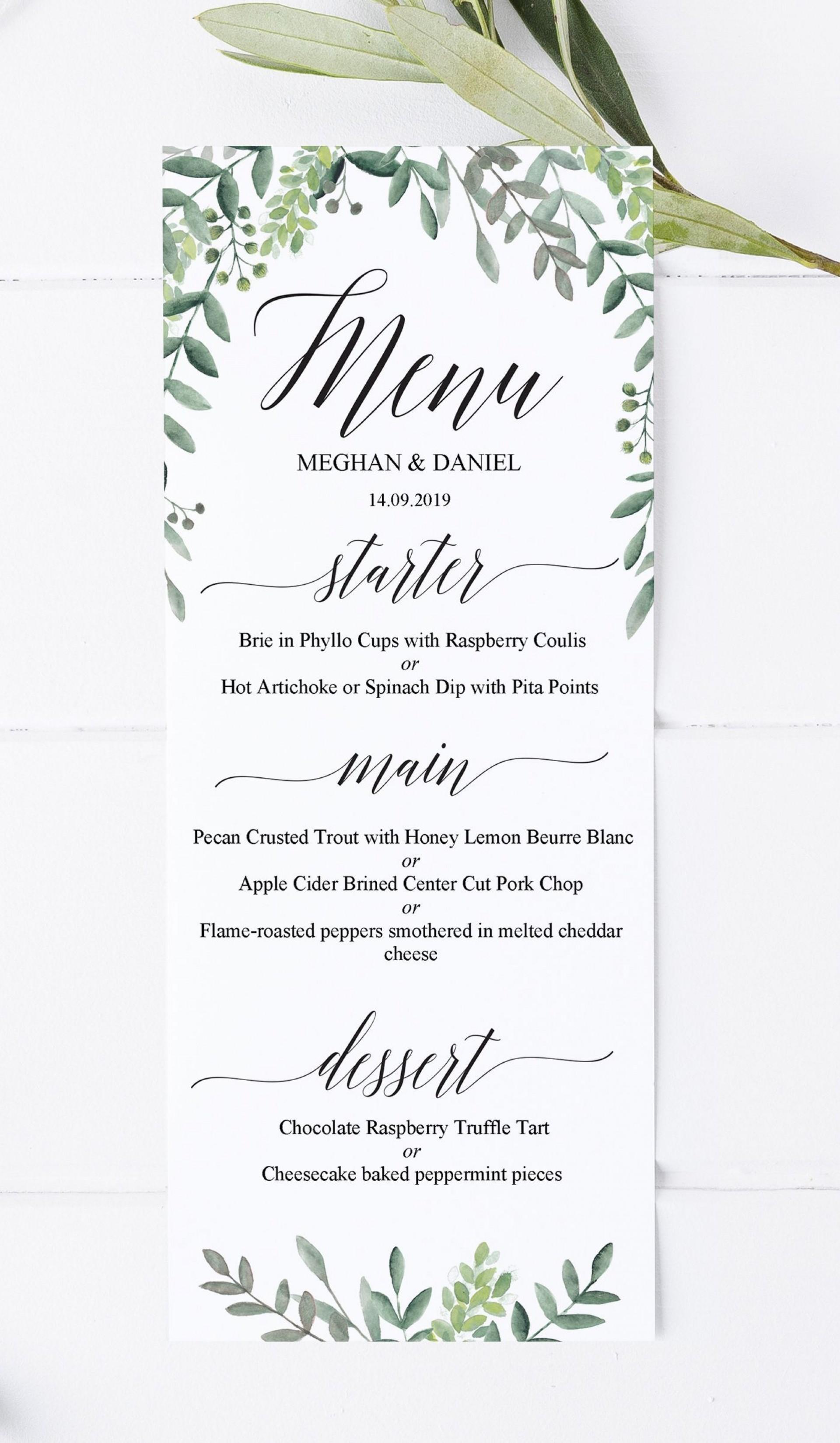 000 Marvelou Diy Wedding Menu Template Sample  Free Card1920