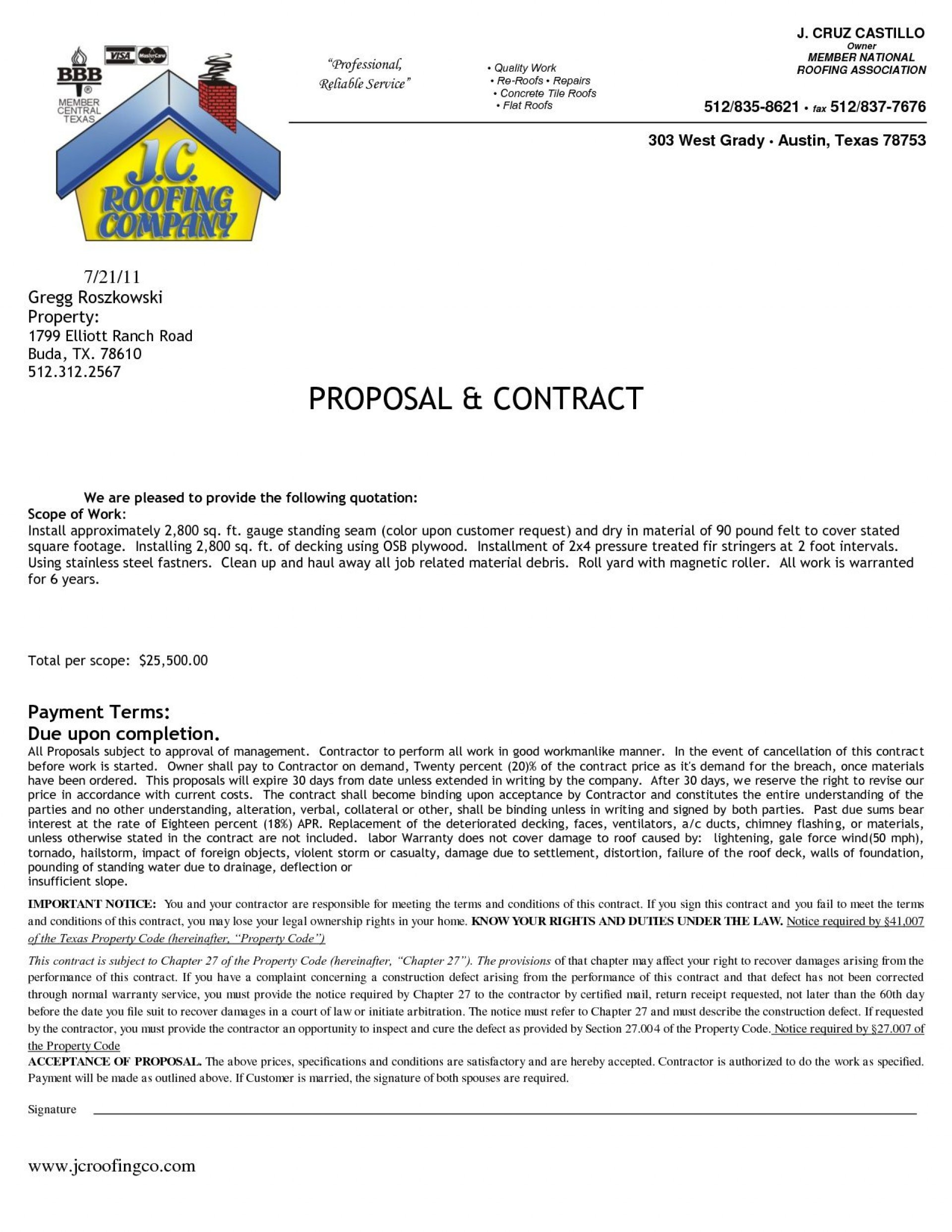 Free Roofing Contract Template Addictionary