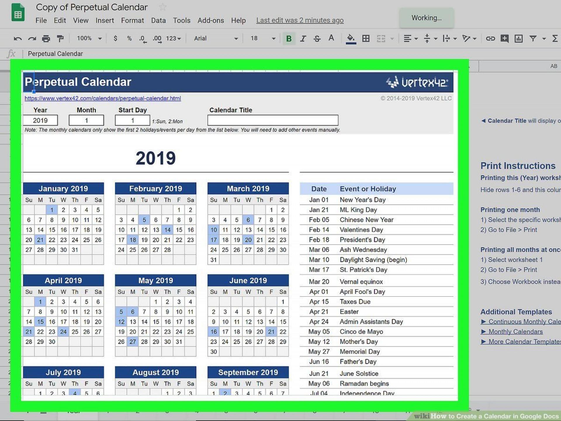 000 Marvelou Google Sheet Calendar Template Design  Templates Monthly Spreadsheet 2020 20181920