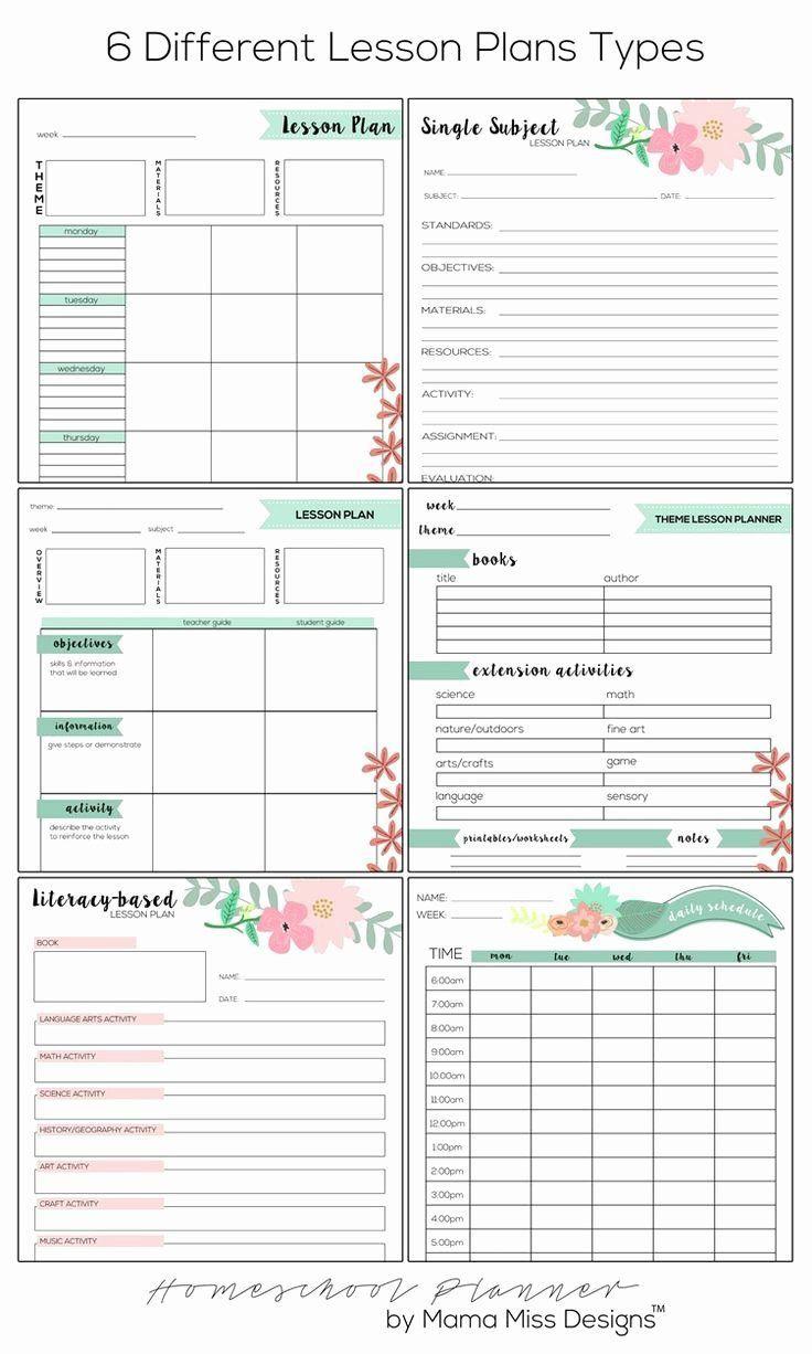 000 Marvelou Homeschool Lesson Plan Template Concept  Teacher Planner FreeFull