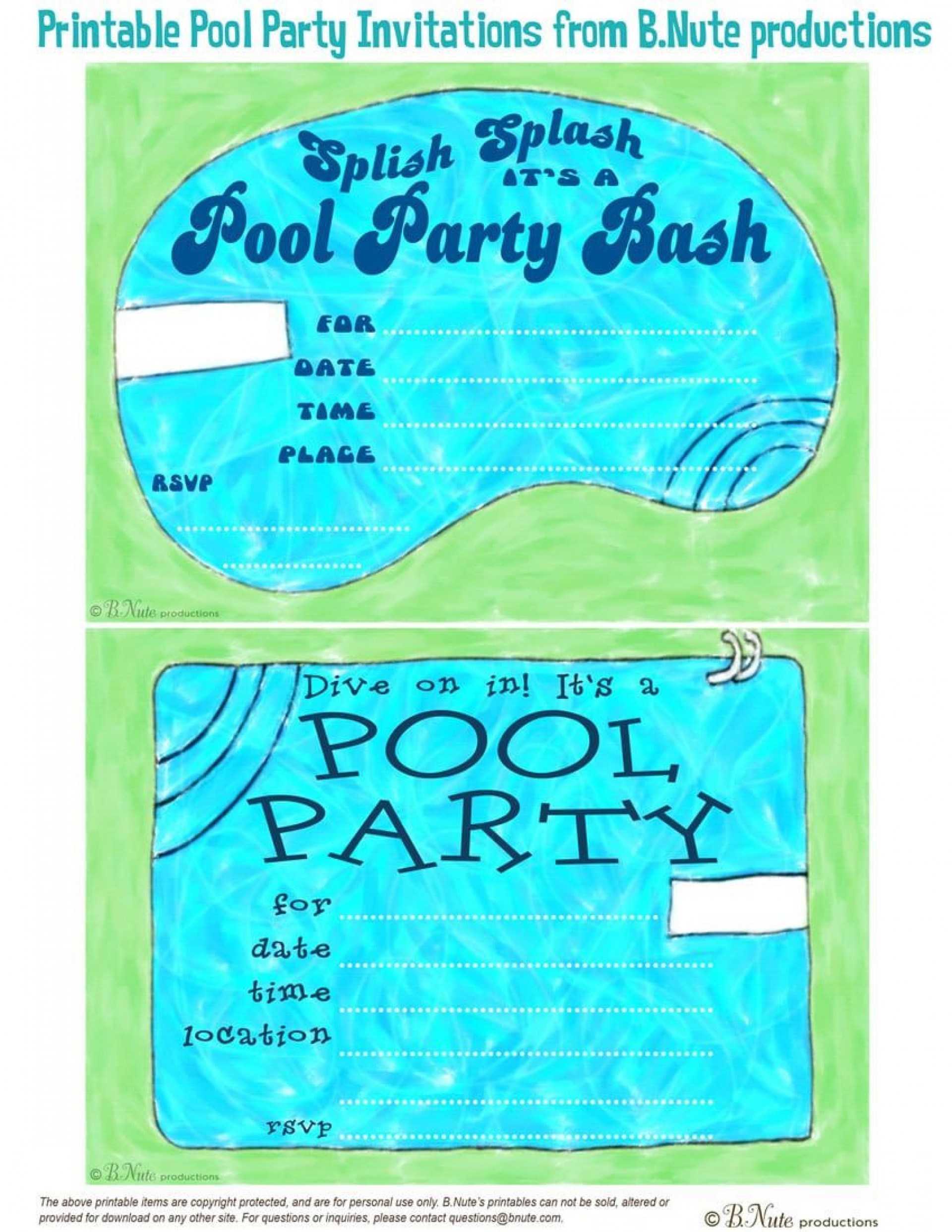 000 Marvelou Pool Party Invitation Template Free Design  Downloadable Printable Swimming1920
