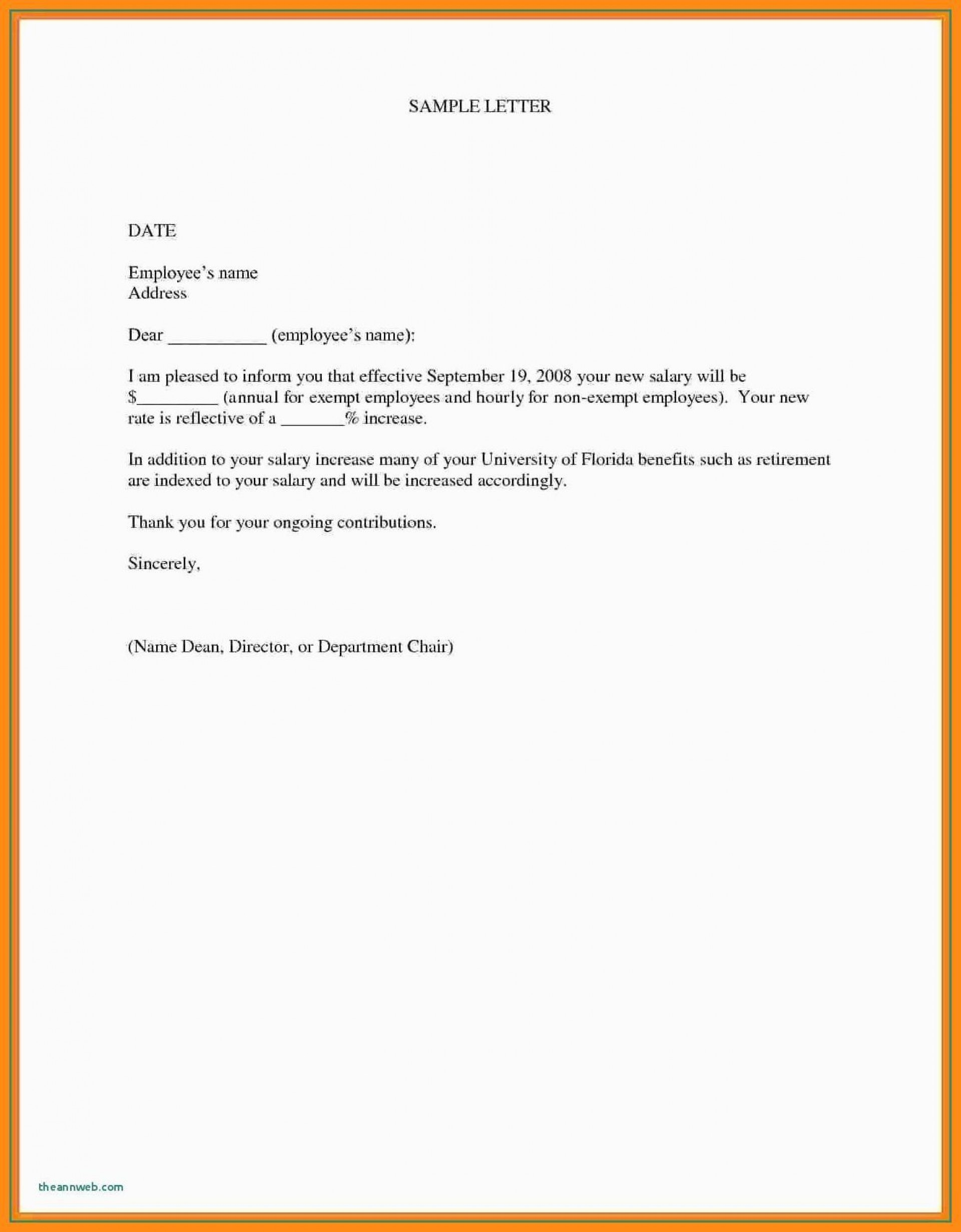 000 Marvelou Salary Increase Letter Template Design  From Employer To Employee Australia No For1920