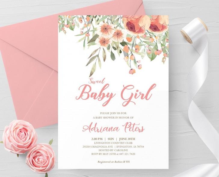 000 Outstanding Baby Shower Invitation Girl Printable High Resolution 728