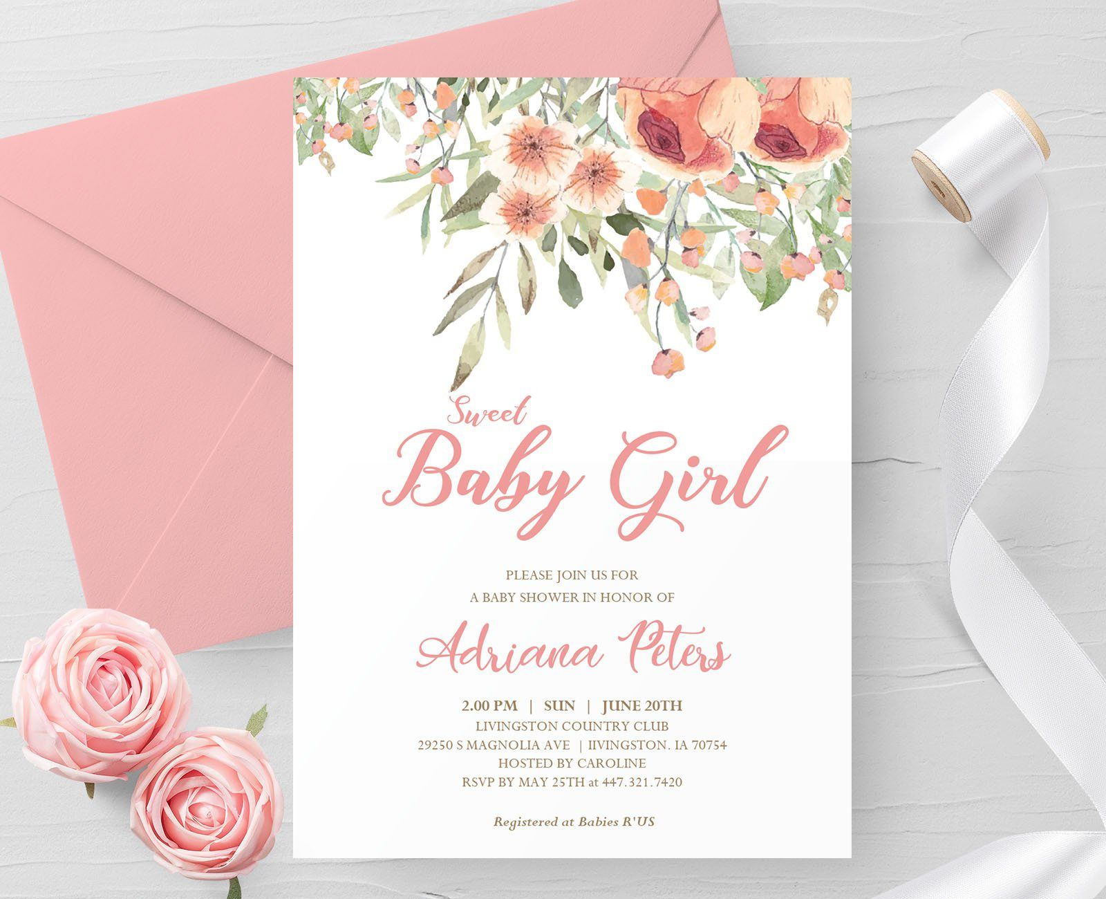 000 Outstanding Baby Shower Invitation Girl Printable High Resolution Full