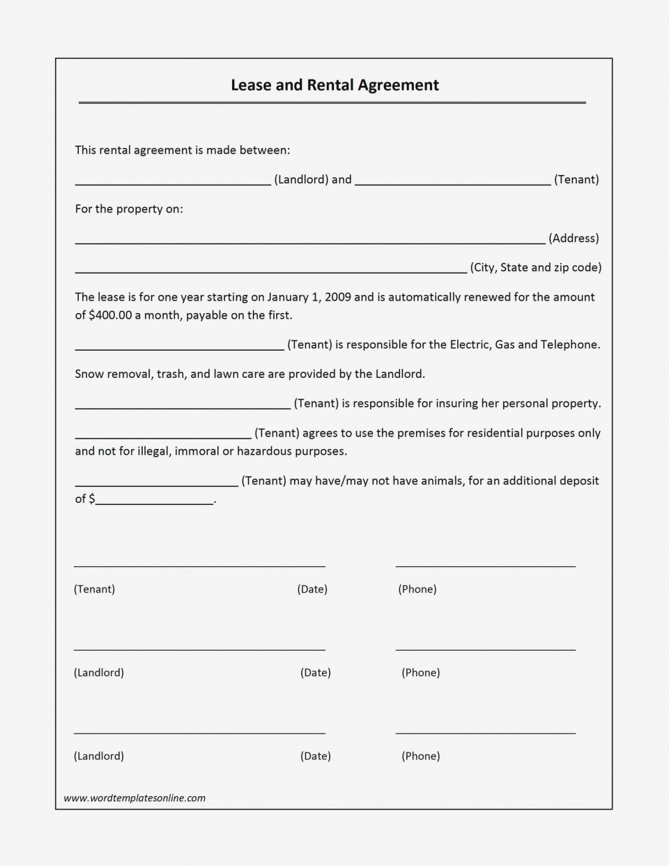 000 Outstanding Basic Rental Agreement Template Highest Quality  Simple Word Tenancy Free960