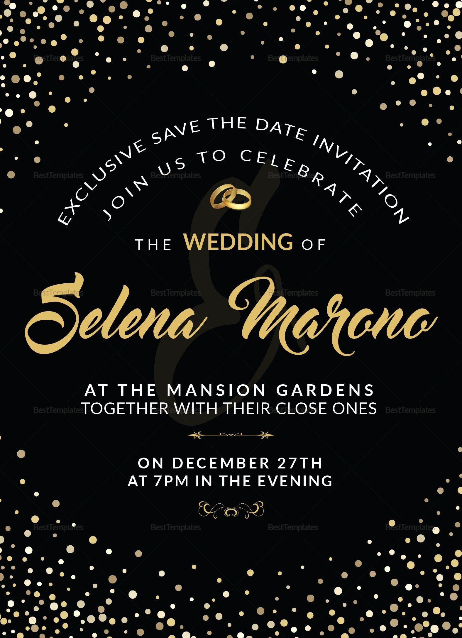 000 Outstanding Black And Gold Invitation Template Sample  Design White Free PrintableFull