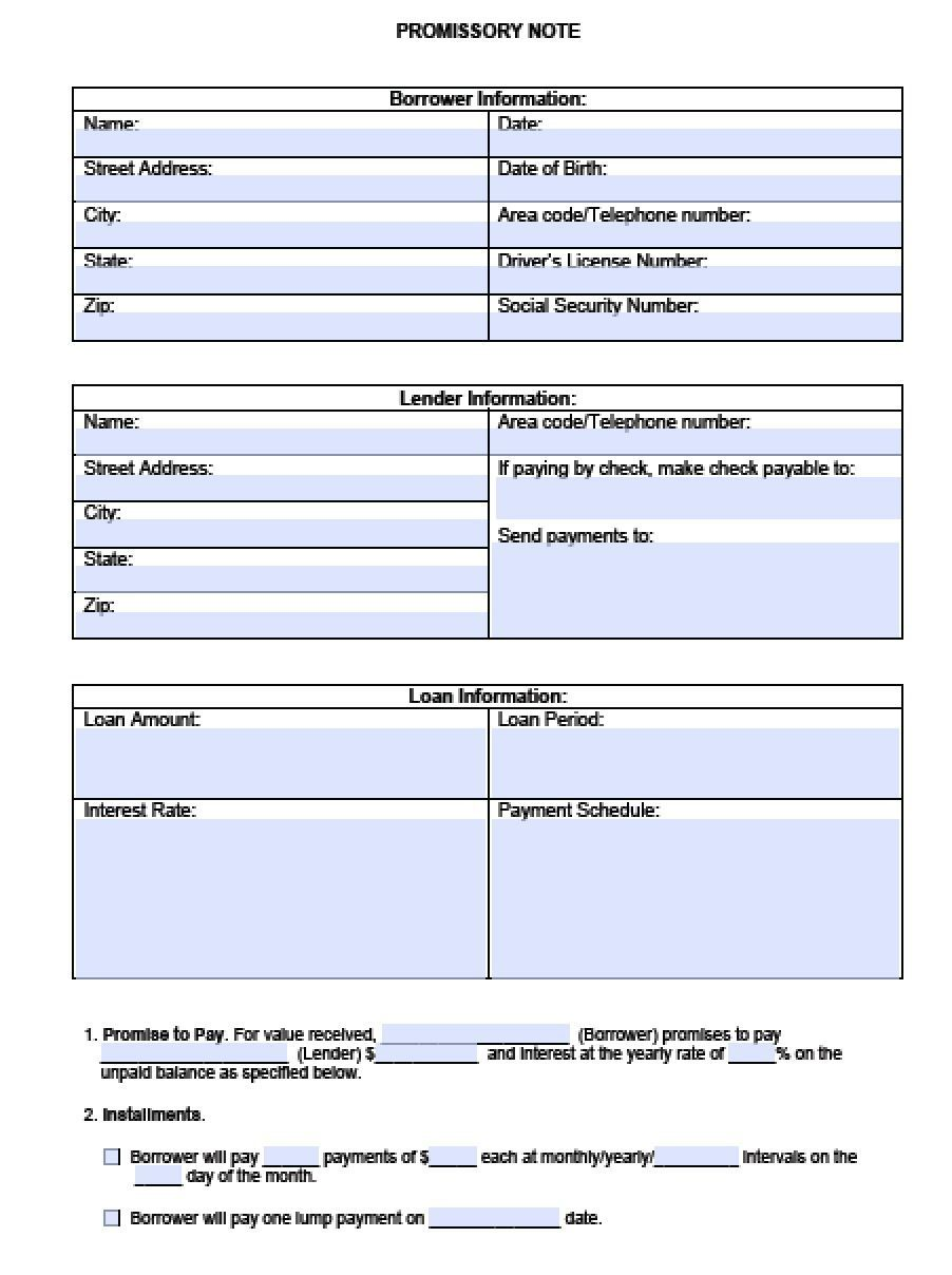 000 Outstanding Blank Promissory Note Template Highest Clarity  Form Free DownloadFull