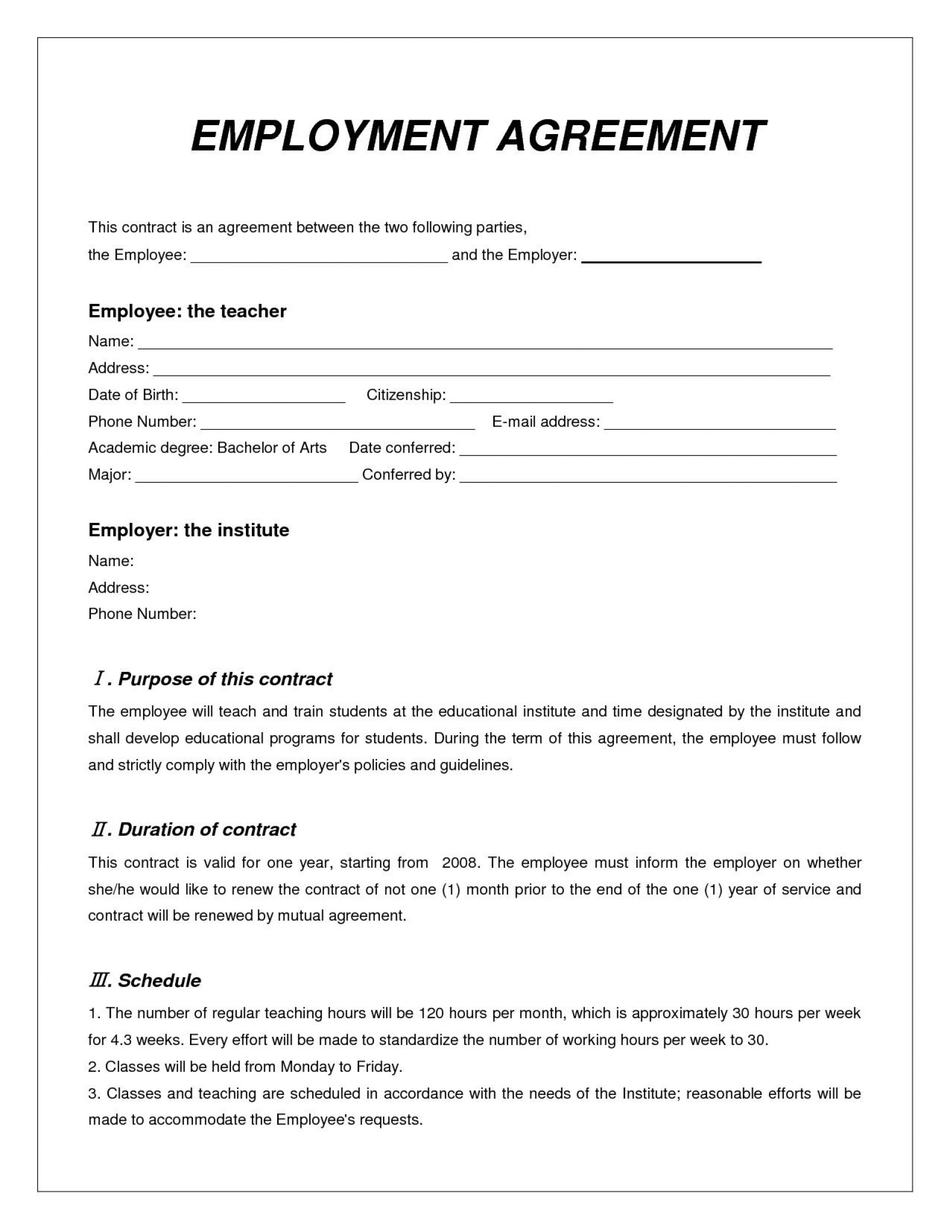 Employment Contract Template Word Addictionary