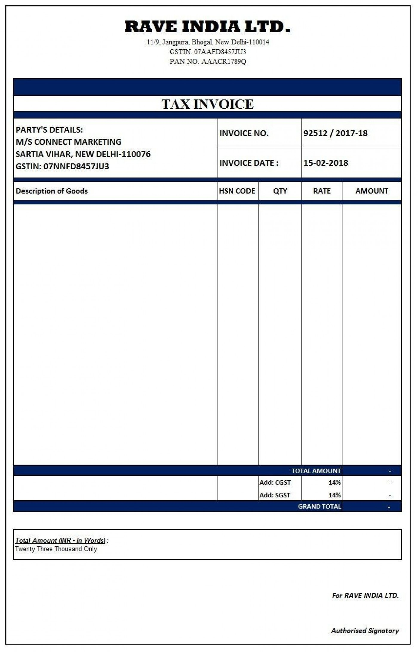 000 Outstanding Excel Invoice Template Gst Free Download Highest Quality 1400
