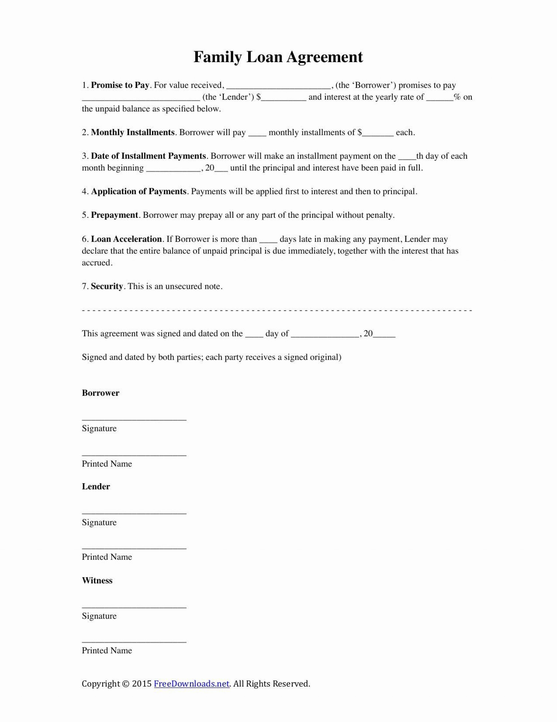 000 Outstanding Family Loan Agreement Template Free Uk High Def  Simple1920