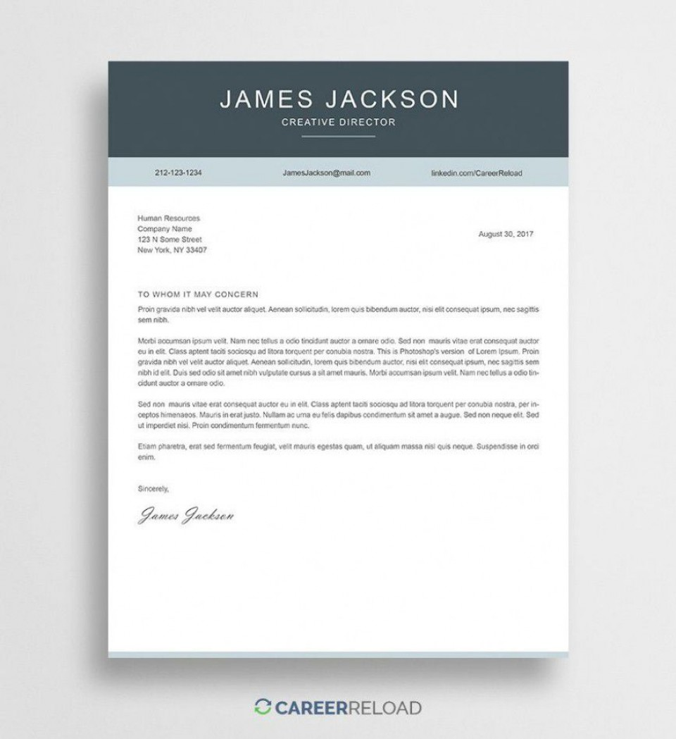 000 Outstanding Free Download Cover Letter Sample High Resolution  For Fresher Pdf Template960