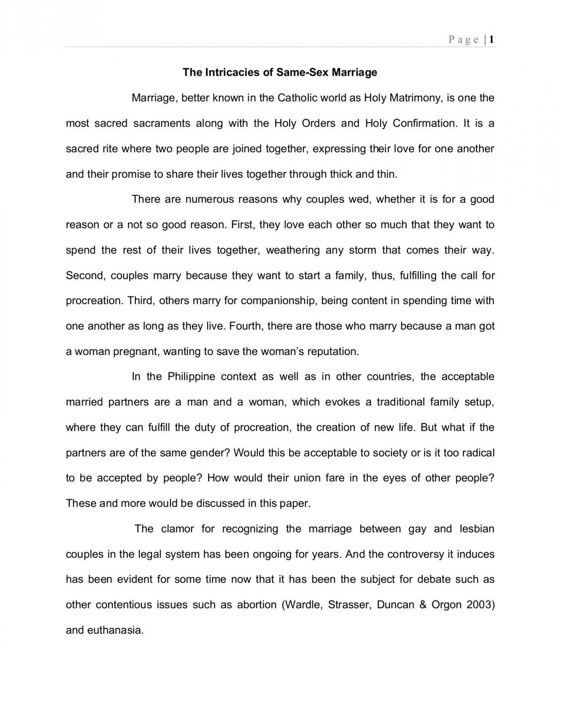 000 Outstanding Gay Marriage Essay Highest Clarity  Example Clever Title For1920