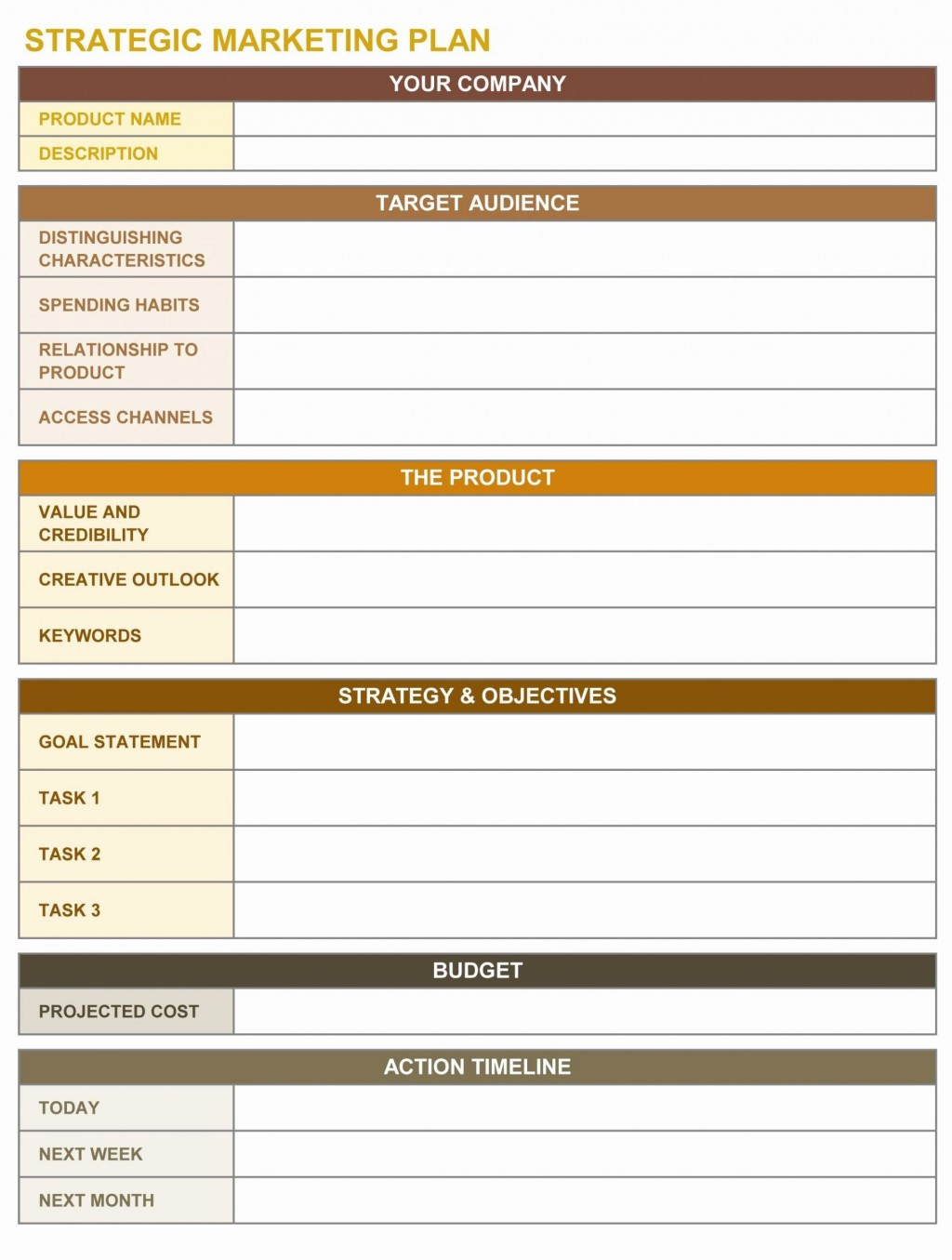 000 Outstanding Marketing Action Plan Template Sample  Ppt Excel Mix ExampleLarge