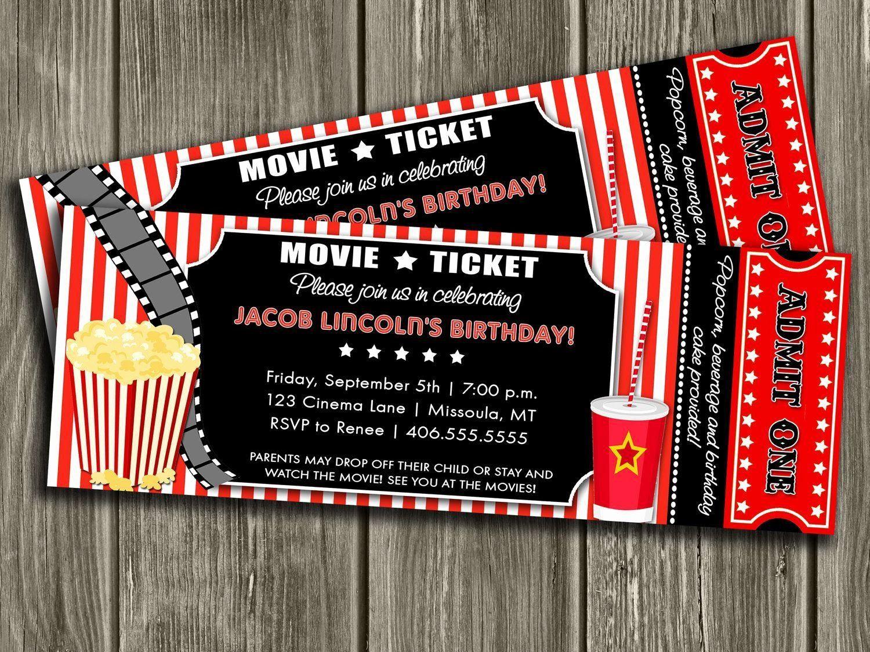 000 Outstanding Movie Ticket Invitation Template Idea  Blank Free Download Editable PrintableFull