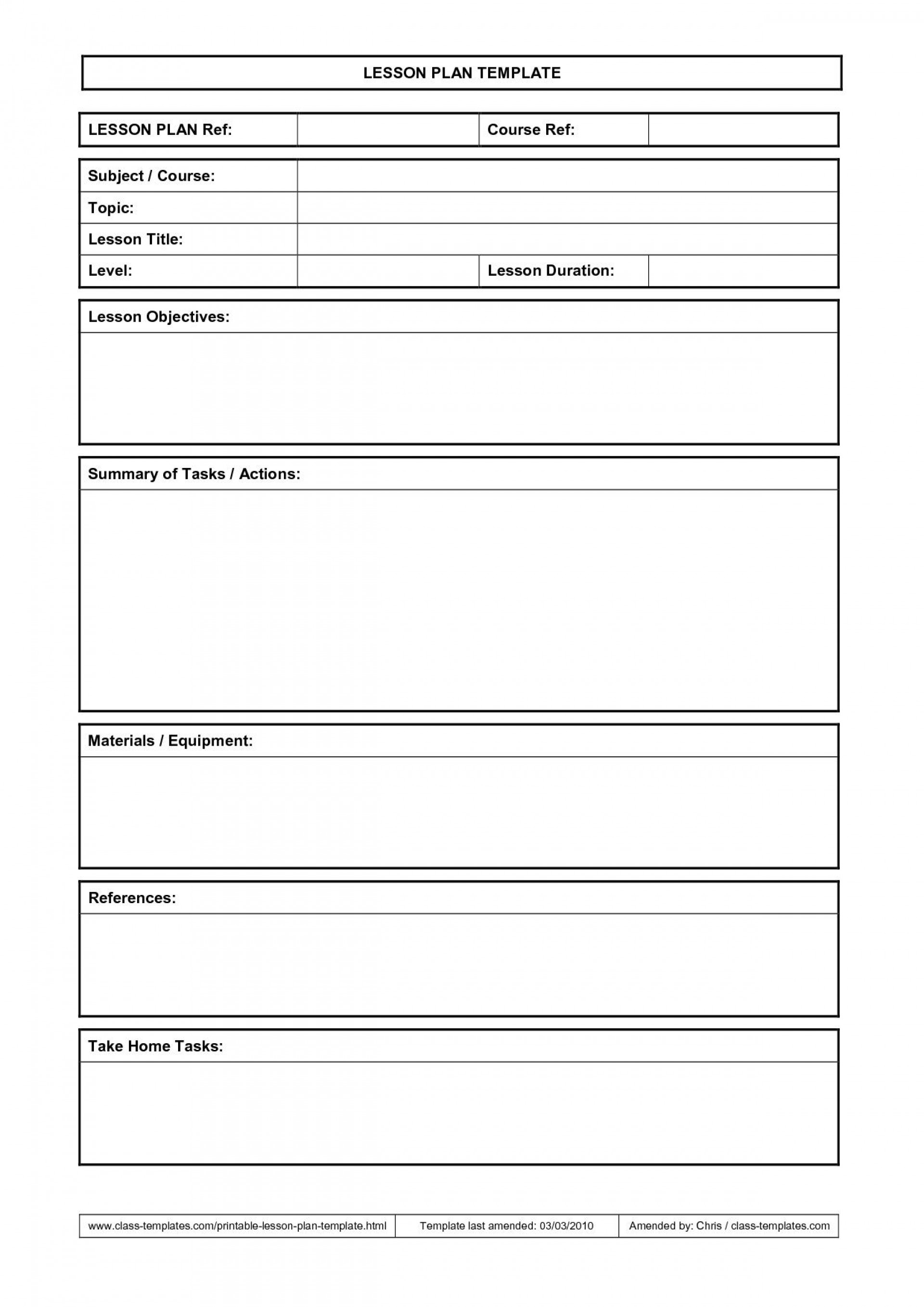 000 Outstanding Printable Lesson Plan Template Sample  Weekly Pdf Free For High School Toddler1920