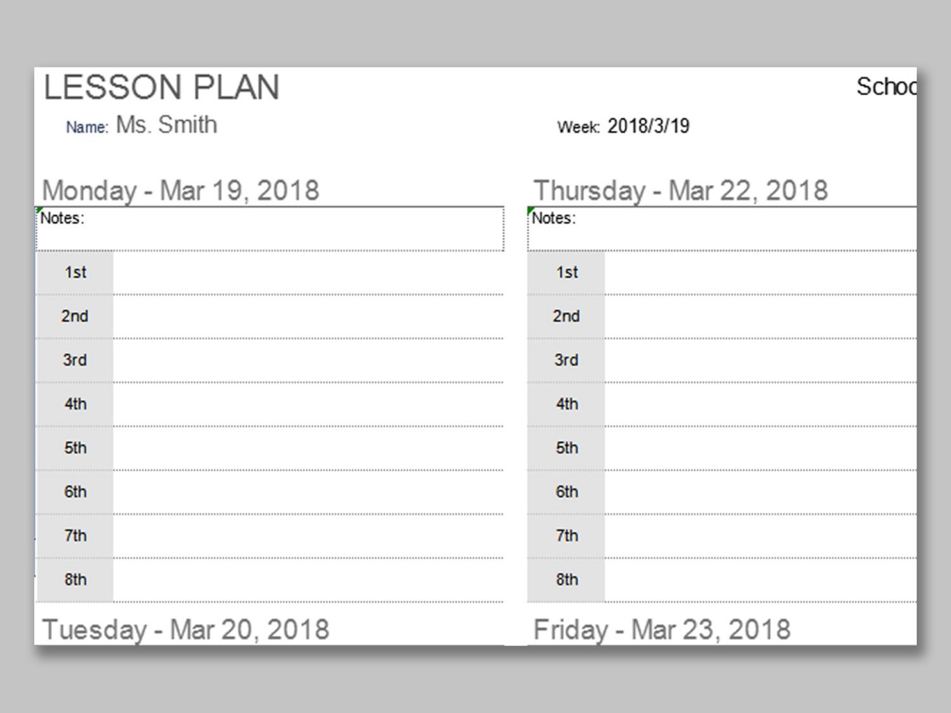 000 Outstanding Printable Lesson Plan Template Weekly Image  Blank Pdf Monthly Free Preschool1920
