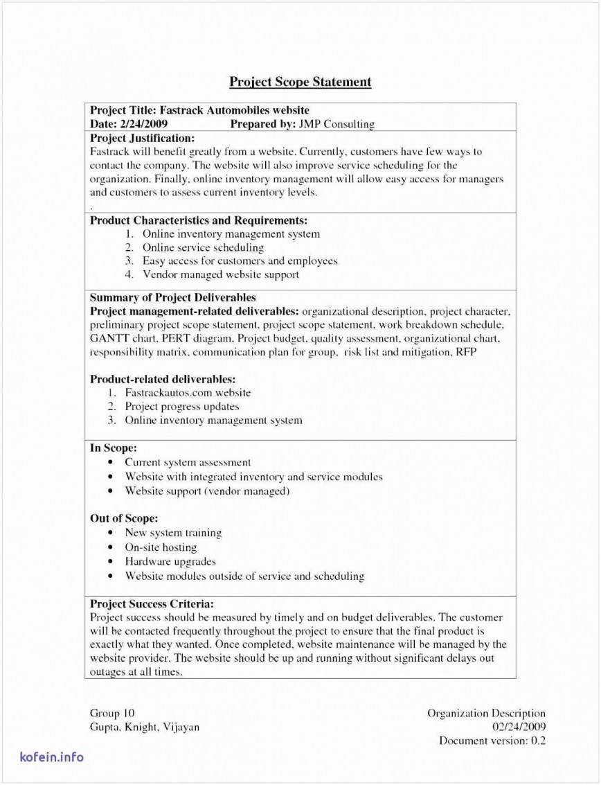 000 Outstanding Sample Statement Of Work Consulting Service Example 868