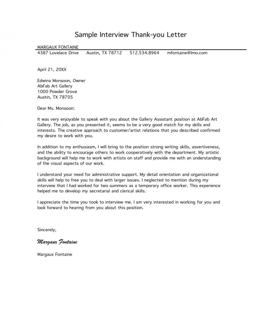000 Outstanding Thank You Note Template For Interview Inspiration  Card Example After Letter Job868