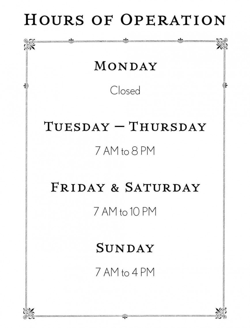 Opening Hours Template Microsoft Word from www.addictionary.org