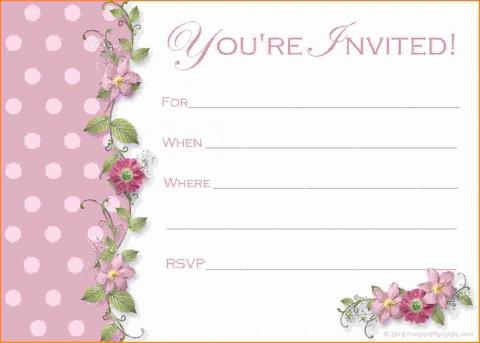 000 Phenomenal Free Birthday Party Invitation Template For Word Idea 480